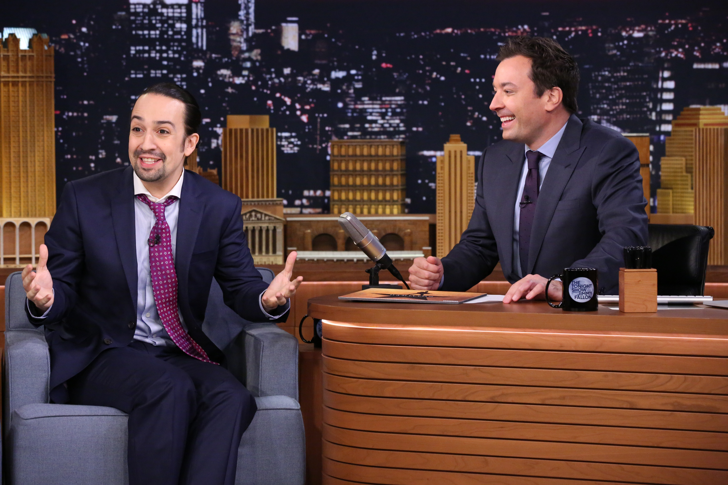 Lin-Manuel Miranda during an interview with host Jimmy Fallon on Nov. 6, 2015.