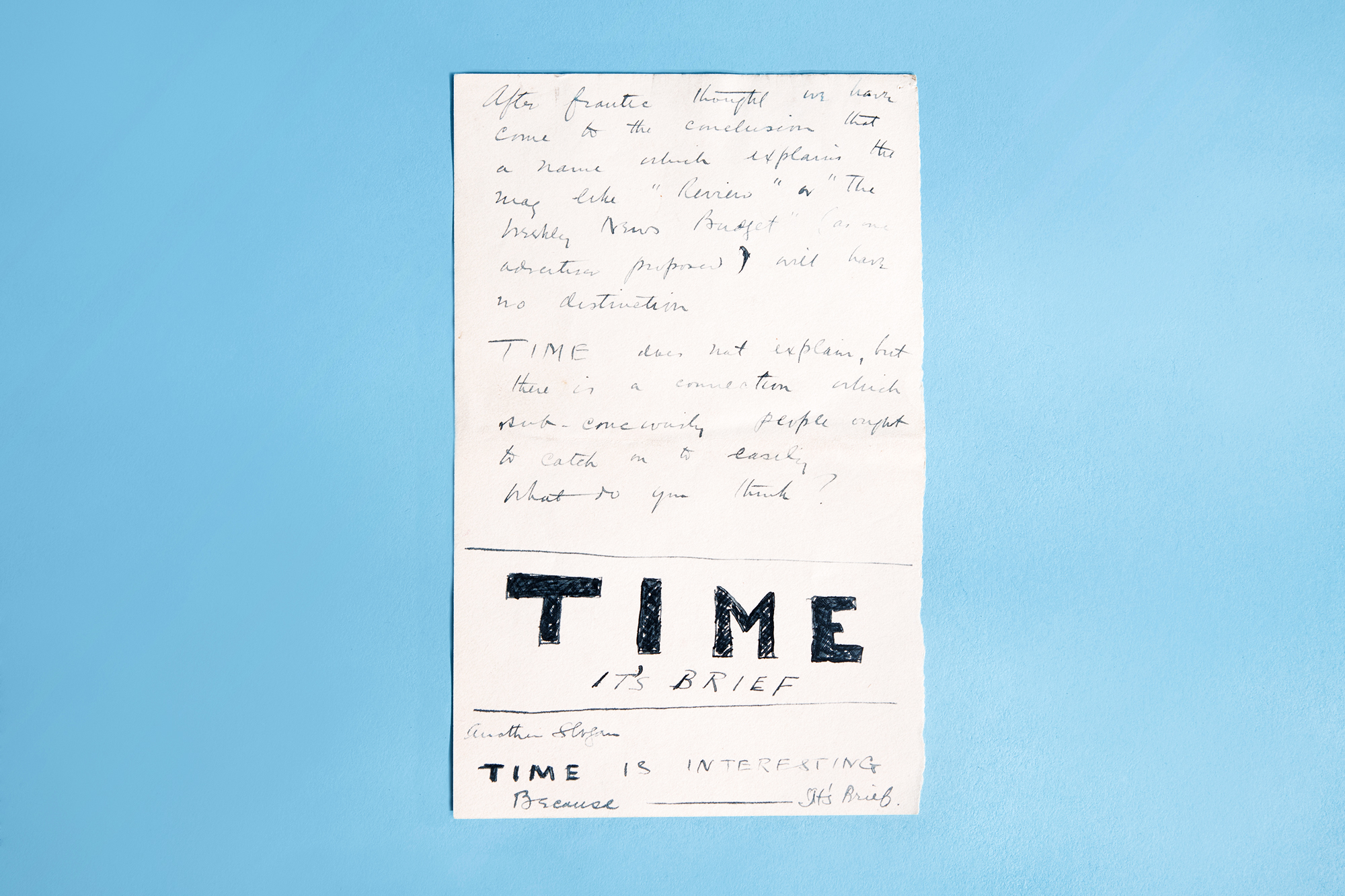 """Letter From Henry Luce to Parents: When TIME's co-founders Briton Hadden and Henry Luce were still in pre-production on the new kind of news magazine, they played around with a number of titles for their publication. Here, Luce tells his parents about the idea to call the magazine """"TIME,"""" and plays around with some slogans that would be used in later advertising campaigns."""