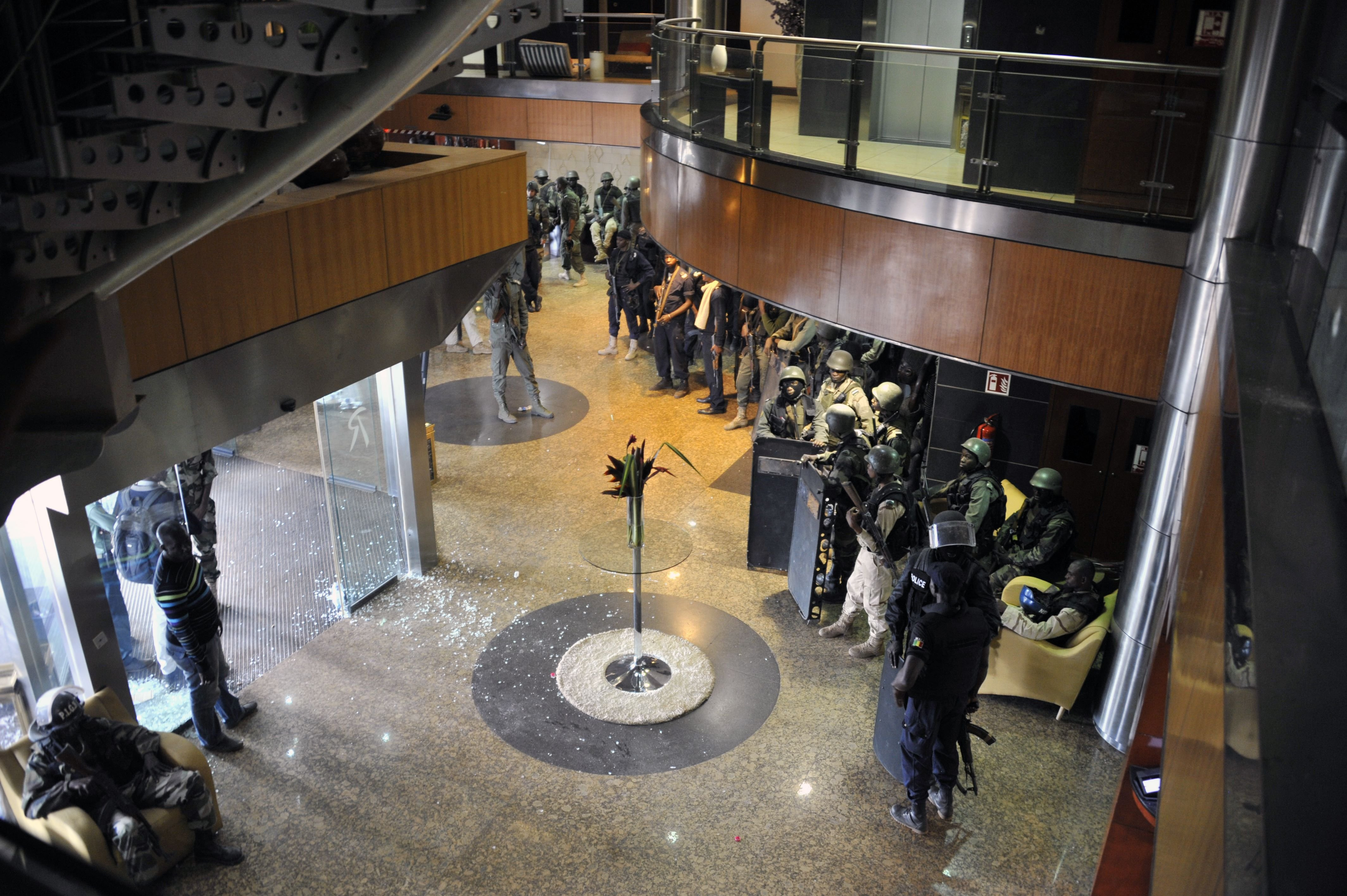 Members of special forces are seen inside the Radisson Blu hotel after the assault of security forces in Bamako, Mali on Nov. 20, 2015.