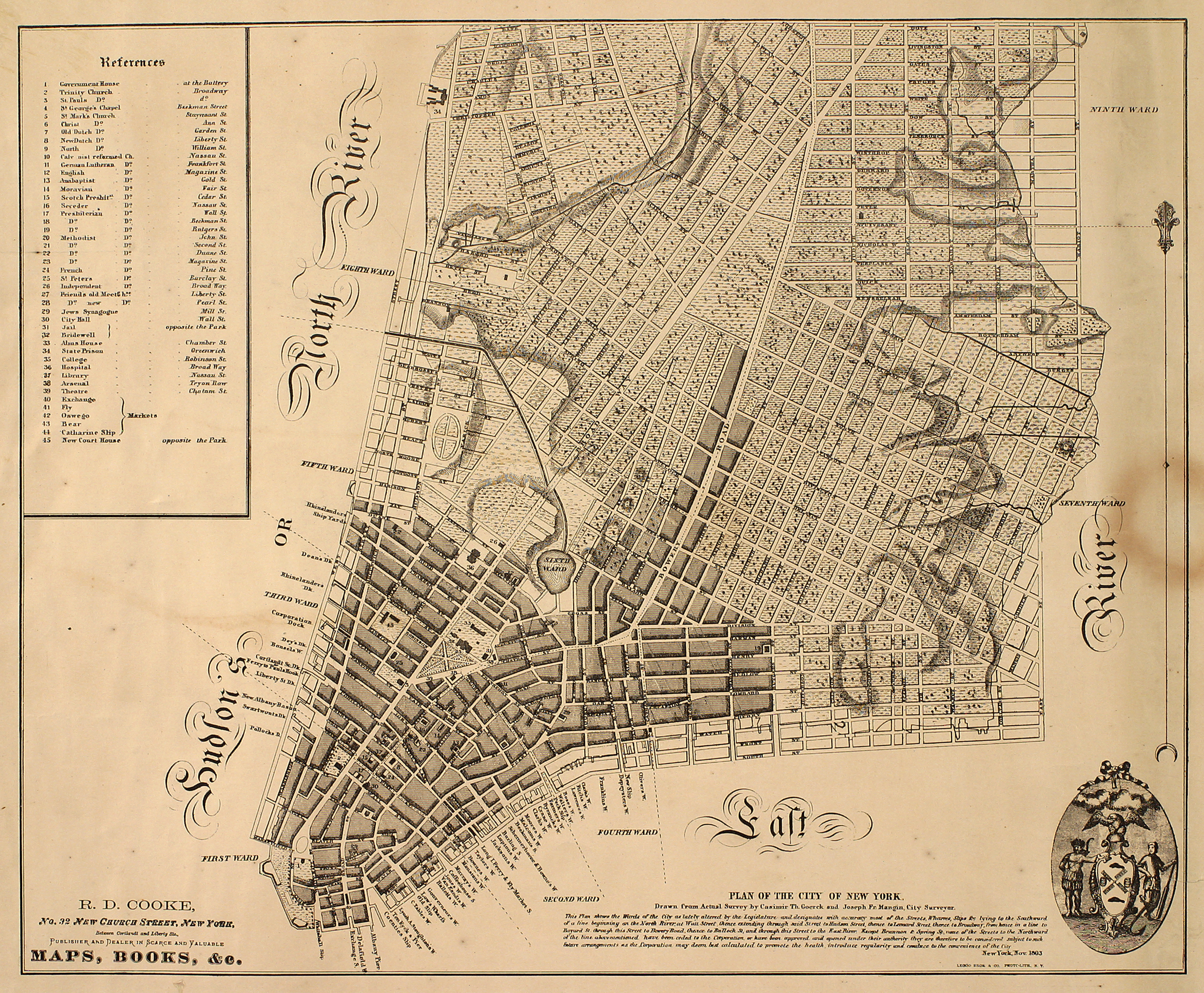 Plan of the City of New-York, as far north as East 31st Street, by William Hooke, 1817. Black ink on paper, backed with cloth by William Hooker.