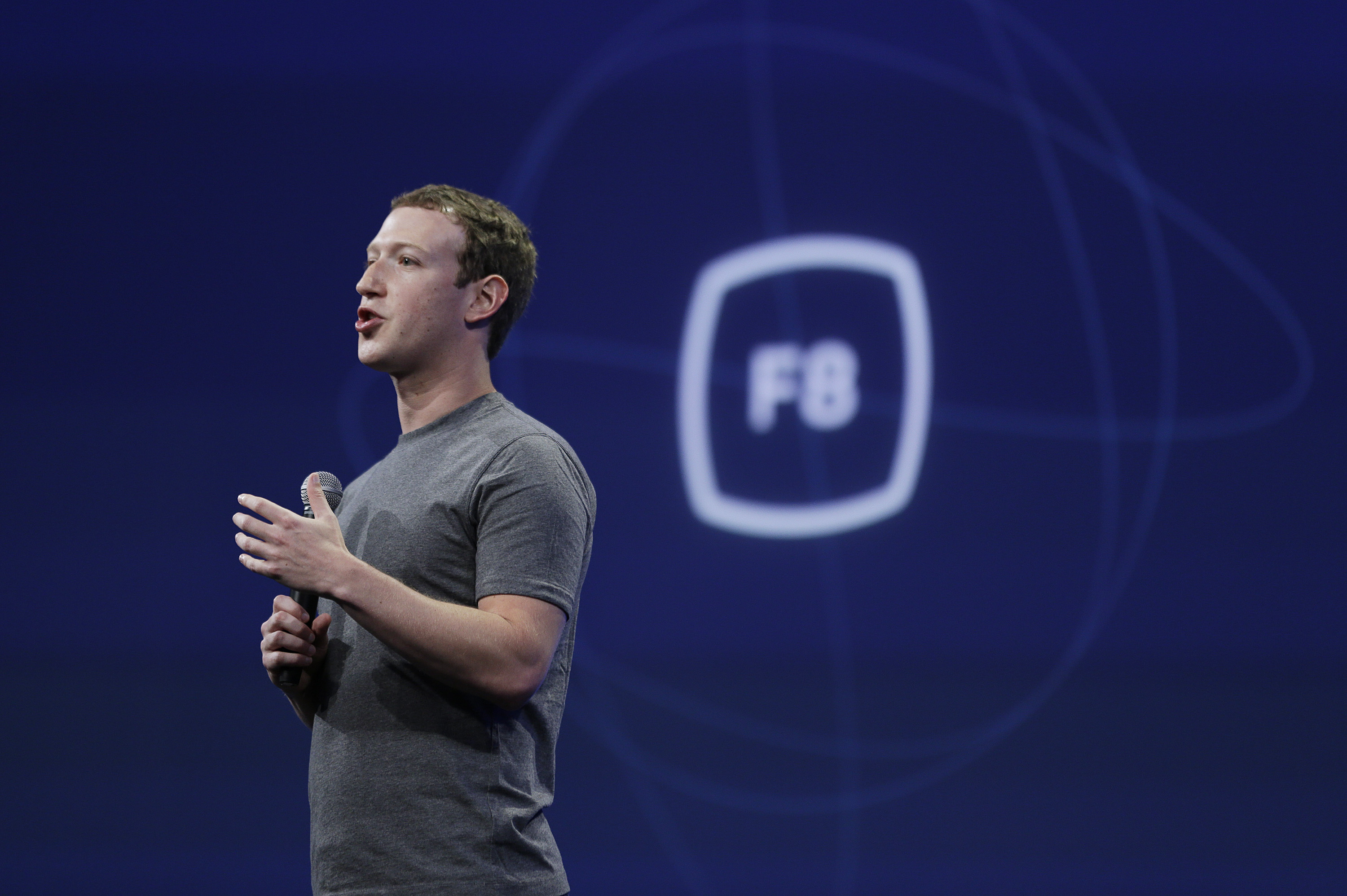Mark Zuckerberg speaks at the Facebook F8 Developer Conference in San Francisco in March.