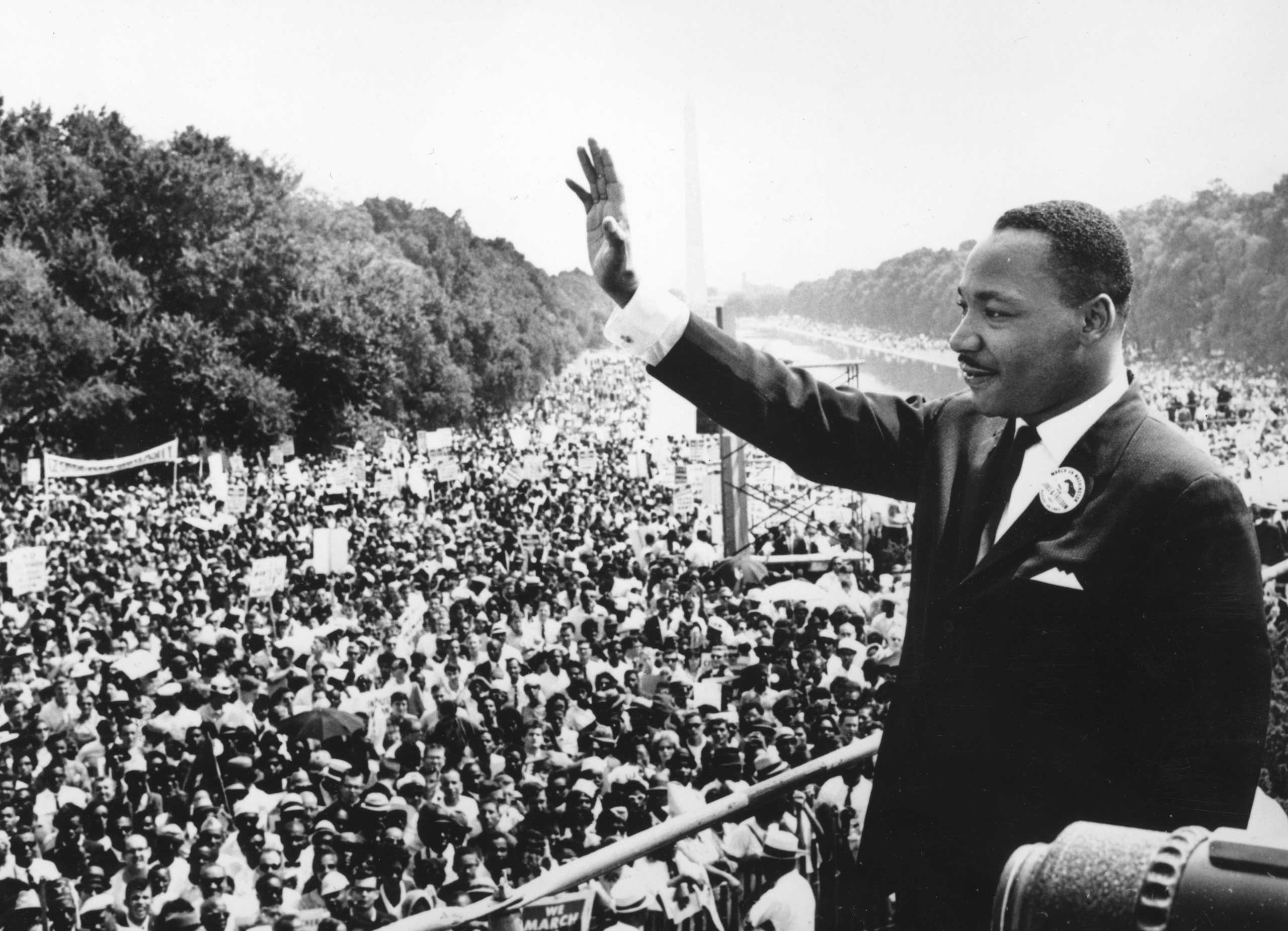 Martin Luther King Jr. addresses crowds during the March On Washington at the Lincoln Memorial, Washington DC, in 1963.