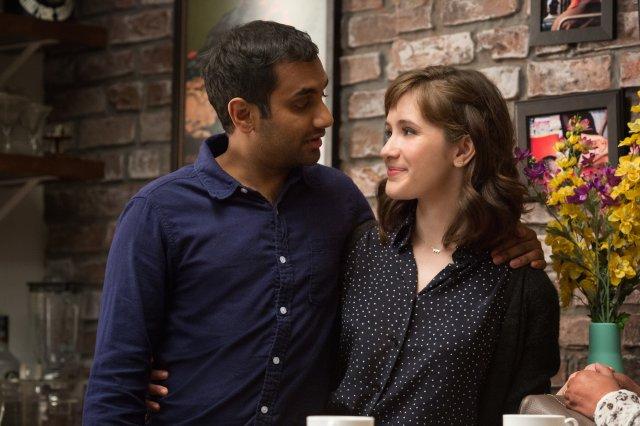 Aziz Ansari as Dev Shah and Noël Wells as Rachel in Master of None.