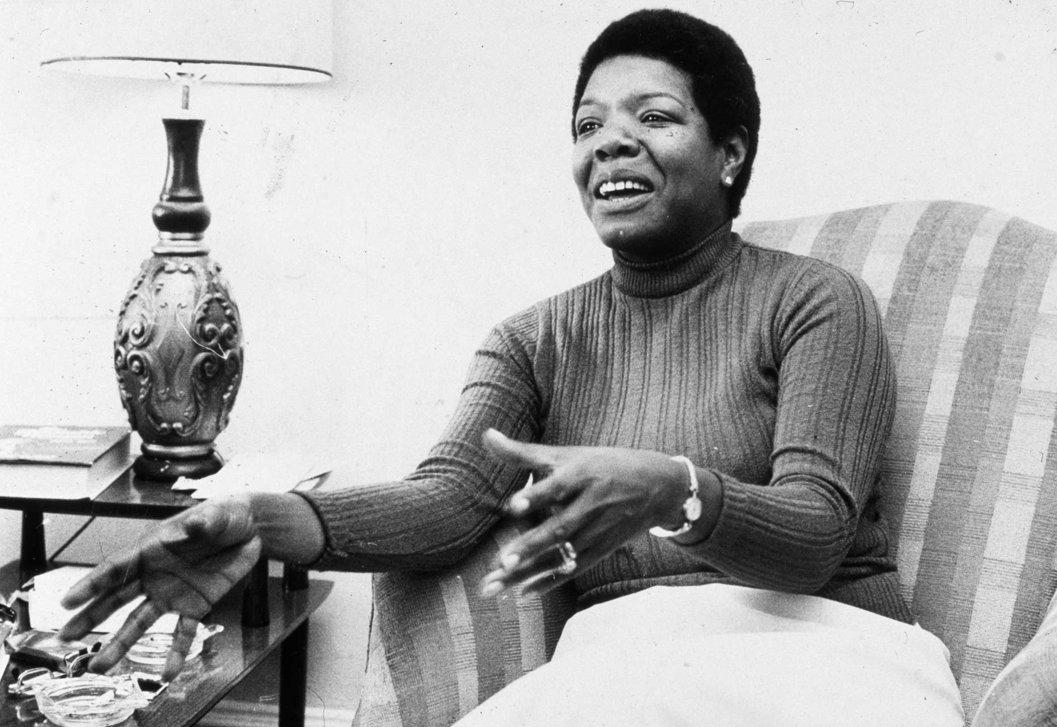 Maya Angelou gestures while speaking during an interview at her home on April 8, 1978.