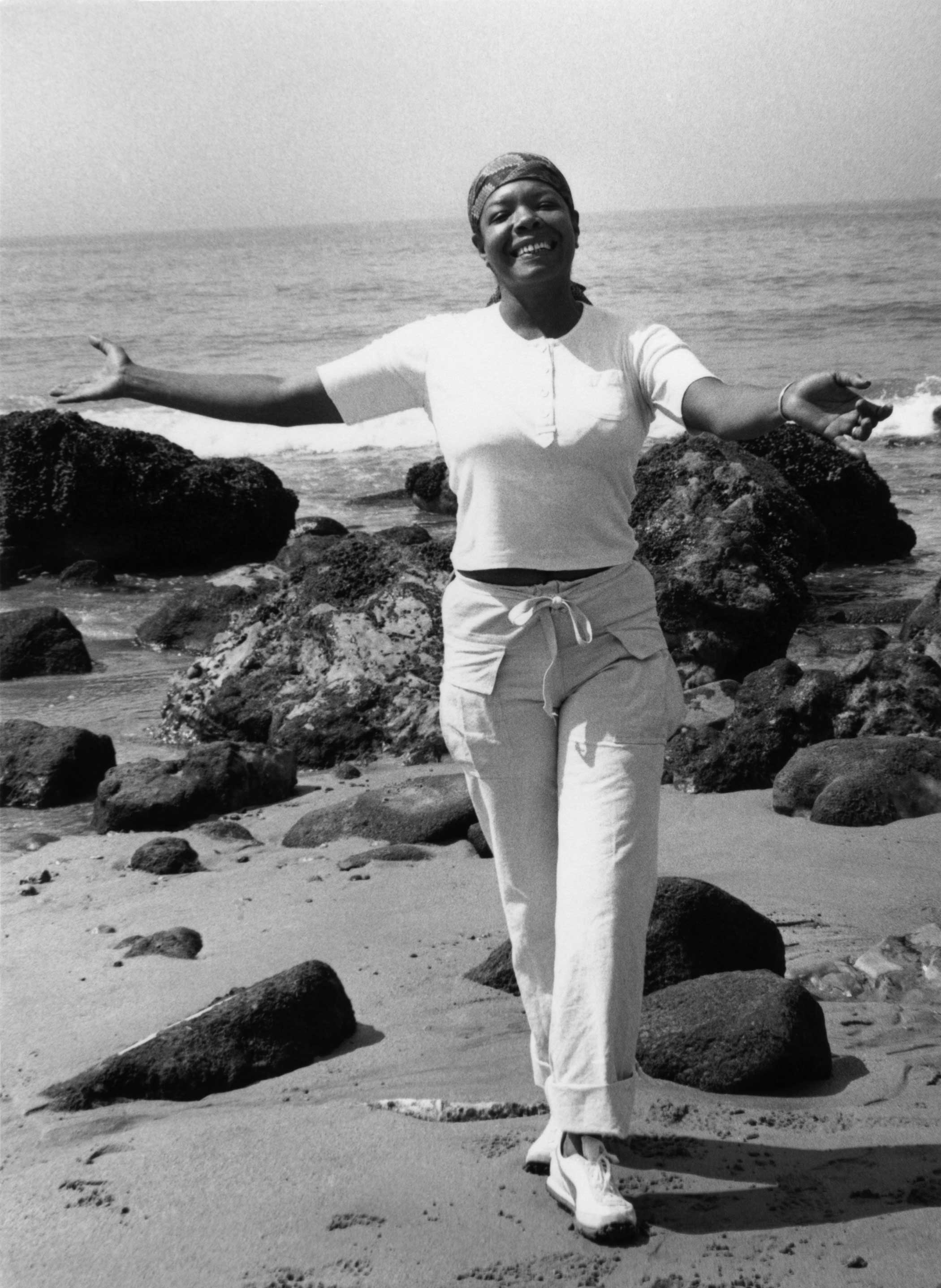 Maya Angelou on the beach in 1988 in Pacific Palisades, Calif.