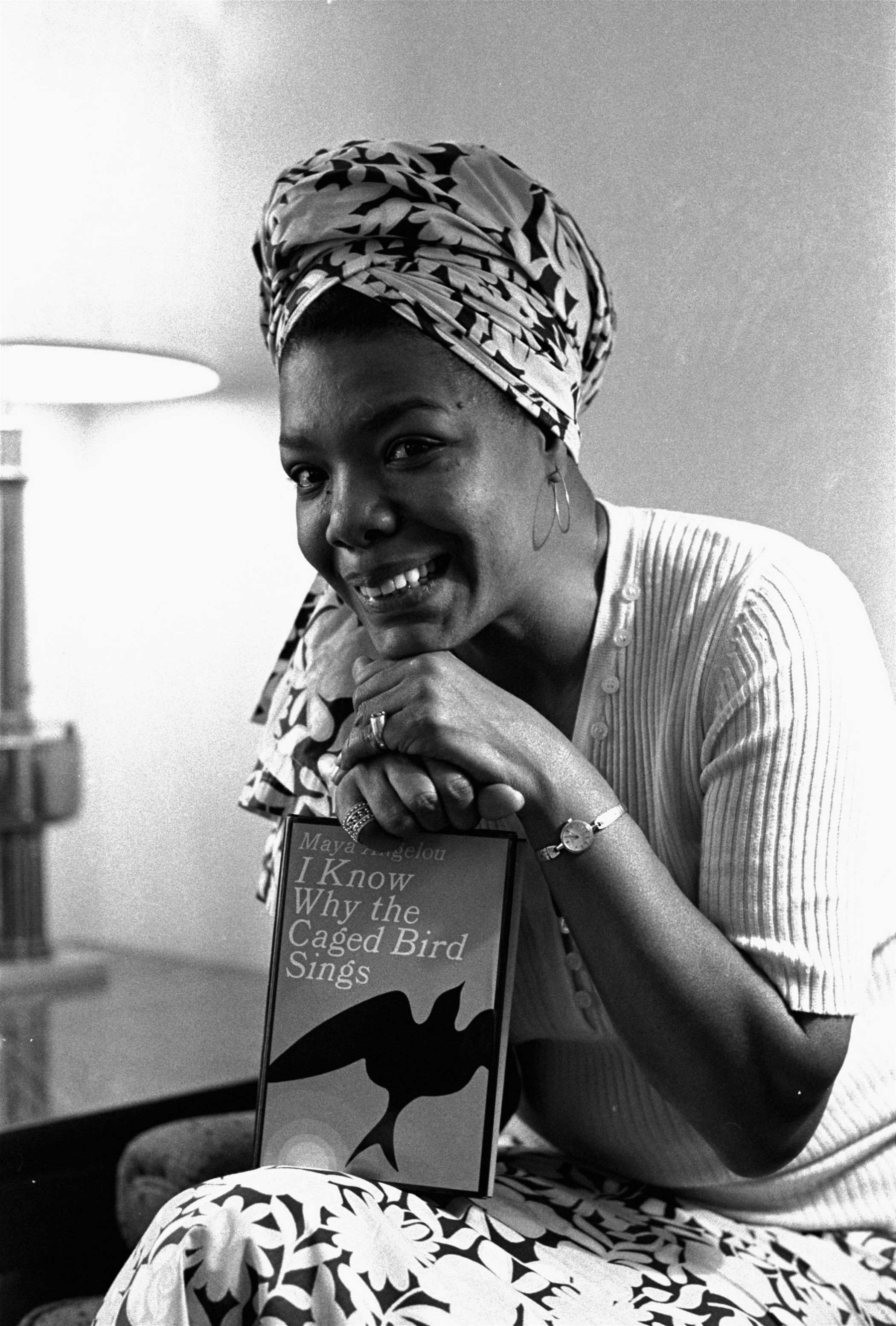 Maya Angelou with a copy of I Know Why the Caged Bird Sings on Nov. 3, 1971 in Hollywood, Calif.