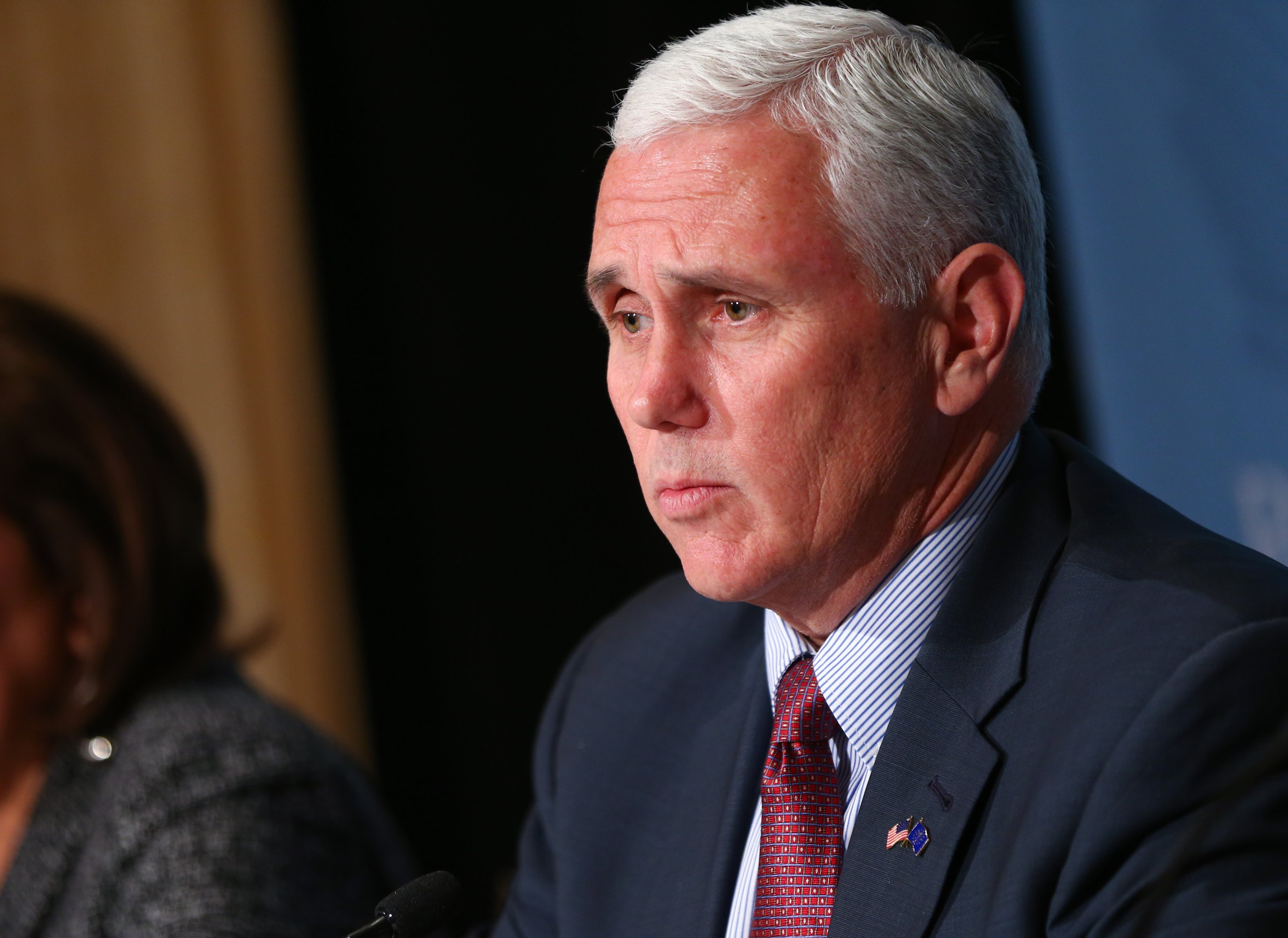 Indiana Gov. Mike Pence speaks during a news conference at the Republican Governors Association annual conference in Las Vegas on Nov. 18, 2015.