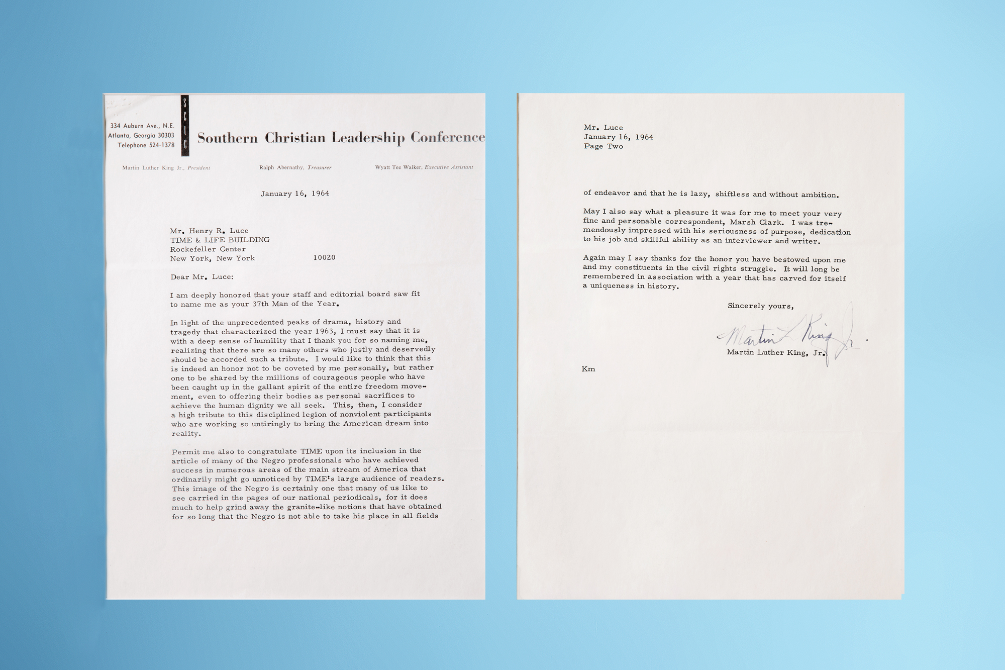 """Letter from Martin Luther King Jr. : Martin Luther King, Jr. wrote this letter thanking Henry Luce for TIME's decision to name the civil rights leader as the Man of the Year in 1963. The March on Washington had just taken place that August, where Rev. King, TIME's first black Person of the Year, delivered the famous """"I Have a Dream"""" speech."""