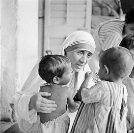 In 1948, when she was 38 years old, Teresa departed the convent in India she had been living in and set out to create her own ministry, the Missionaries of Charity, where she attended to the most forsaken souls in Calcutta — the sick, the dying, the leprous. On top of that, she reached out to the city's many homeless children of the city, giving them shelter and love. The home she opened to welcome them, Nirmala Shishu Bhavan, above, admitted any child who arrived there.