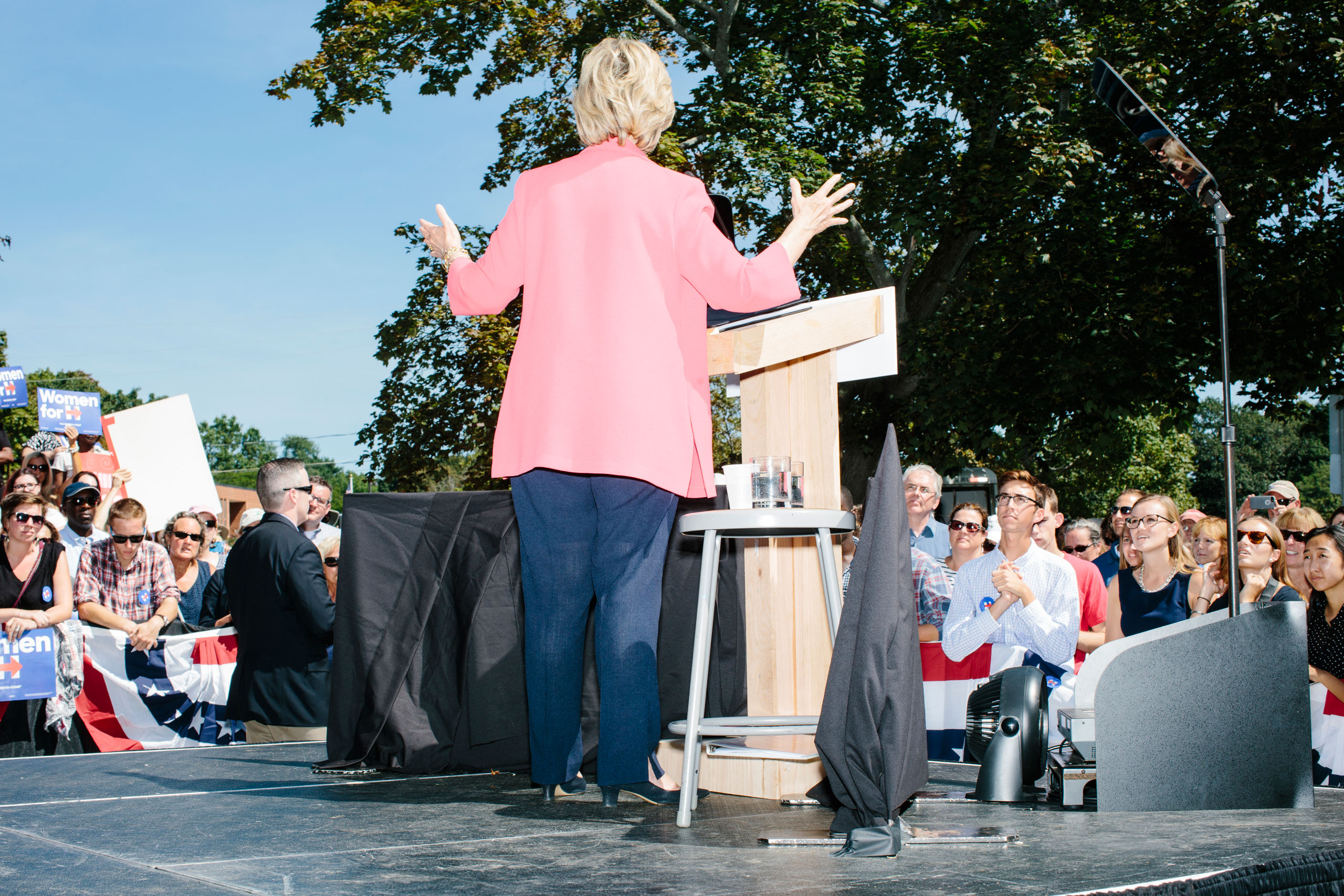 Democratic presidential candidate, former First Lady and Secretary of State Hillary Rodham Clinton speaks to a crowd at a rally in Portsmouth, N.H. At the rally, New Hampshire senator Jeanne Shaheen endorsed Clinton.