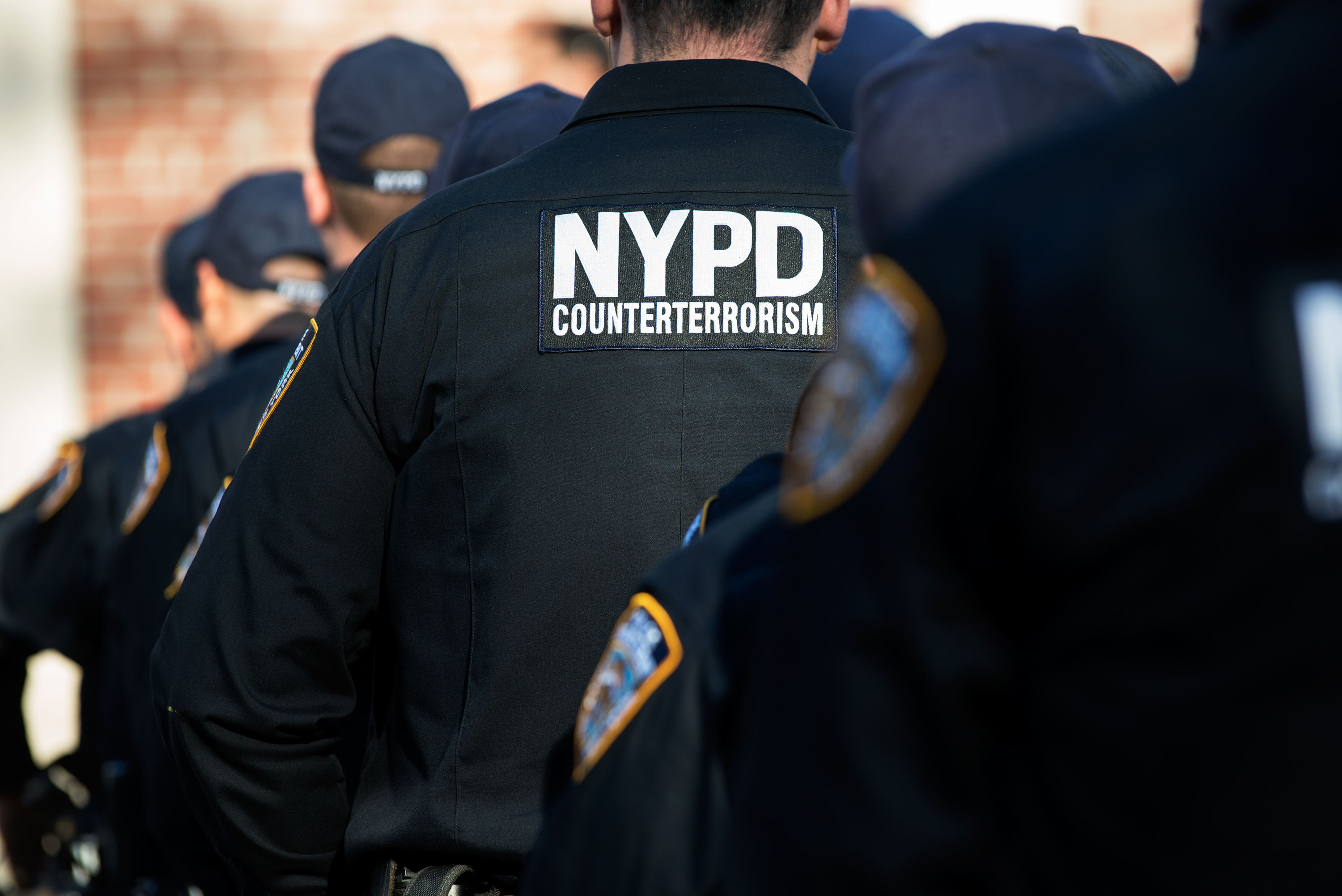 NYPD officers await the announcement of the formation of the Critical Command of the Counter-Terrorism Bureau in New York City on Nov. 16, 2015.