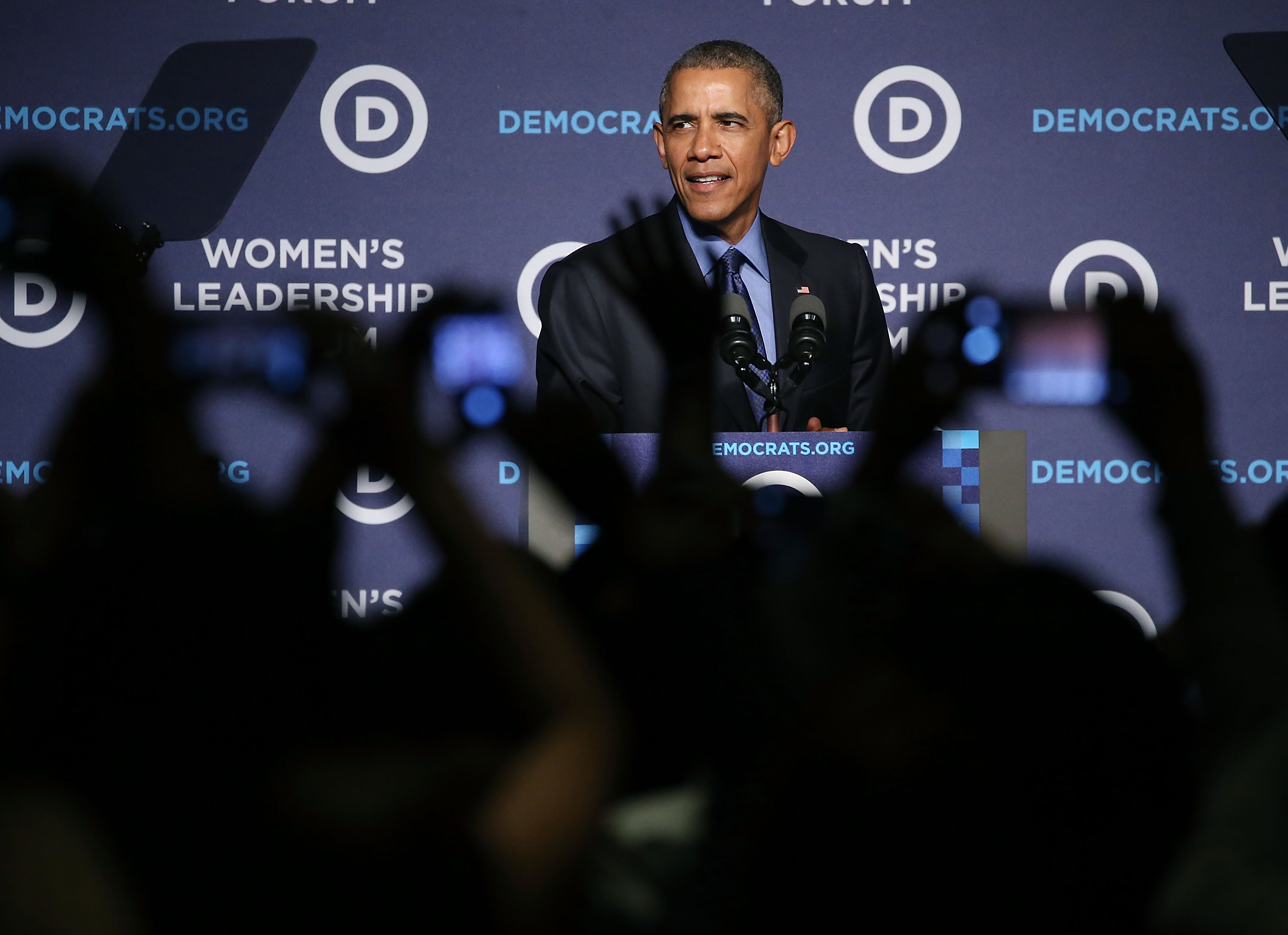President Obama speaks at the Democratic National Committee's Women's Leadership Forum in Washington, DC on Oct. 23, 2015.