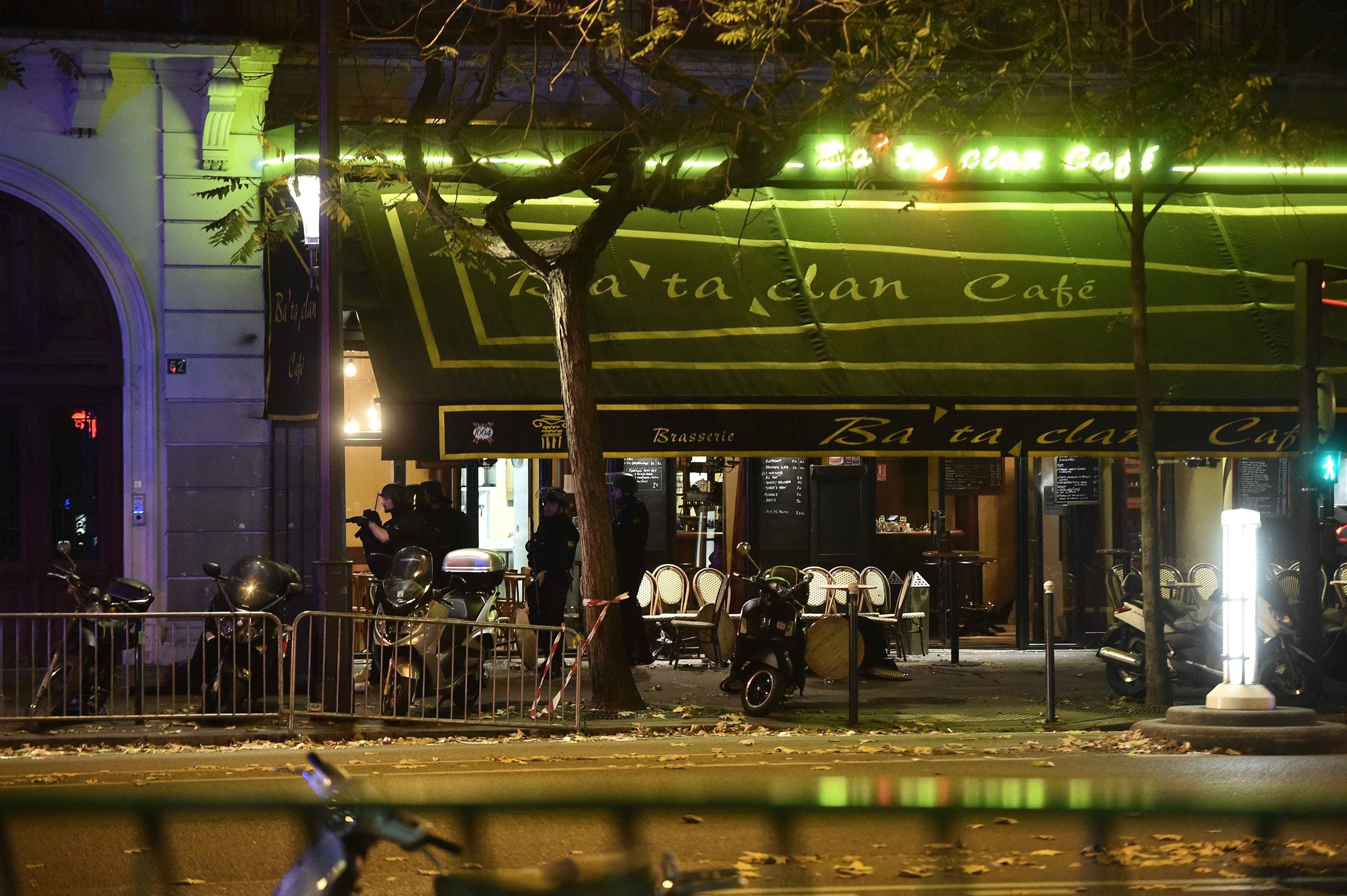 A general view of damage outside the Bataclan concert venue where a gunman has reportedly taken people hostage in Paris on Nov. 13, 2015.