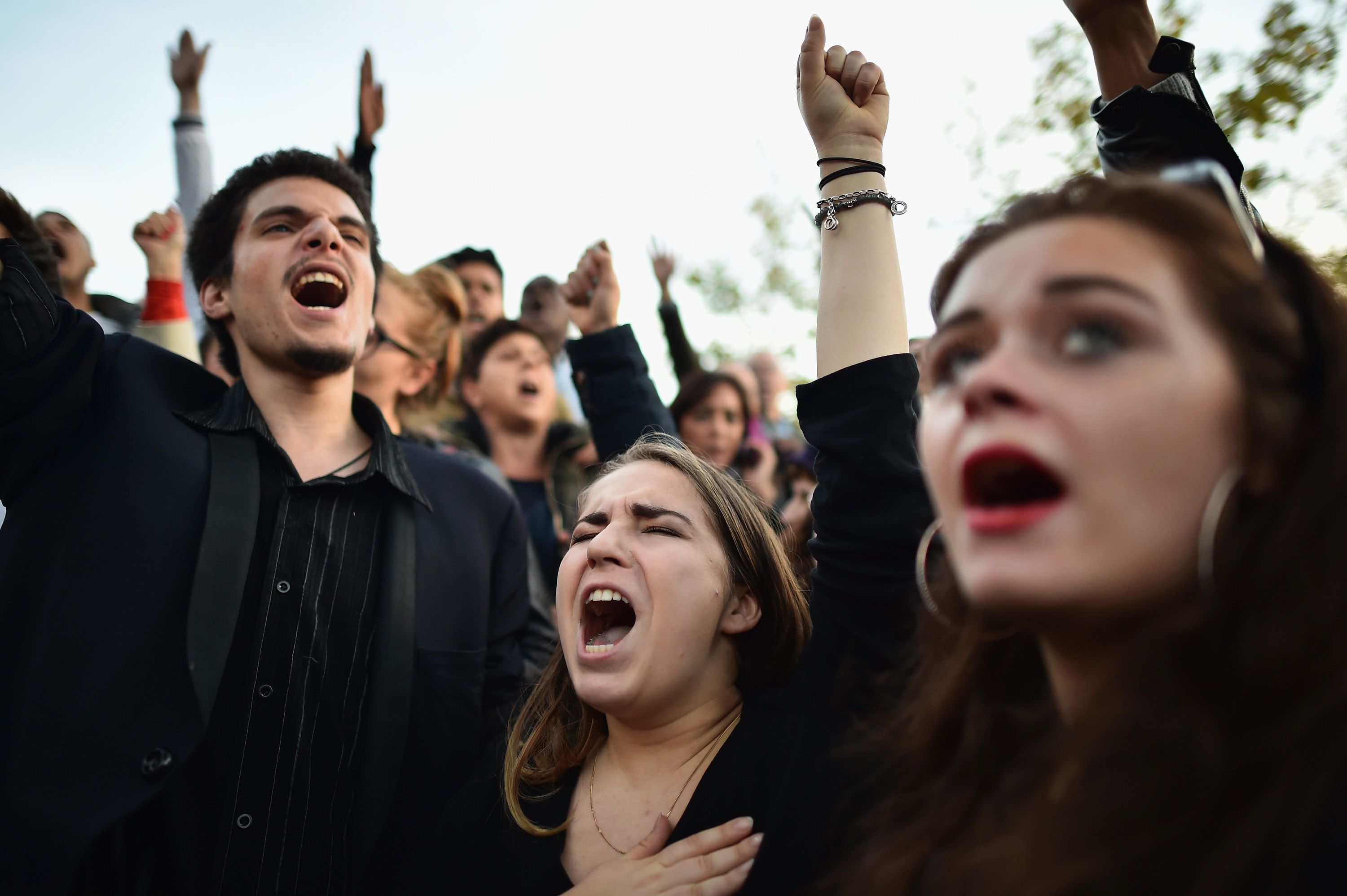 Mourners in Paris, France on November 15, 2015