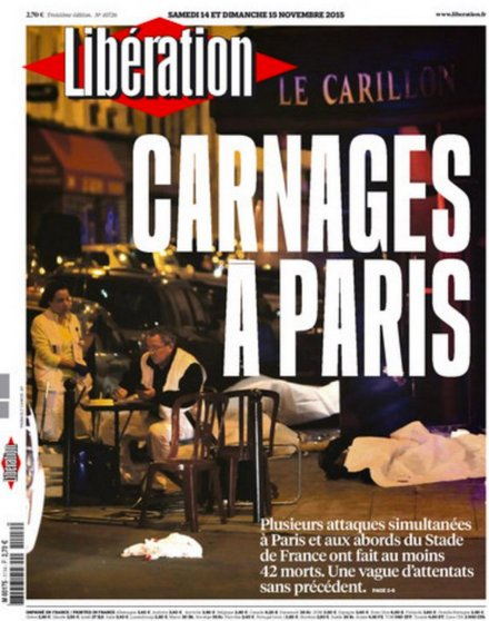 The front page of Liberation after the Paris attacks on Nov. 13, 2015