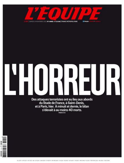 The front page of L'Equipe after the Paris attacks on Nov. 13, 2015