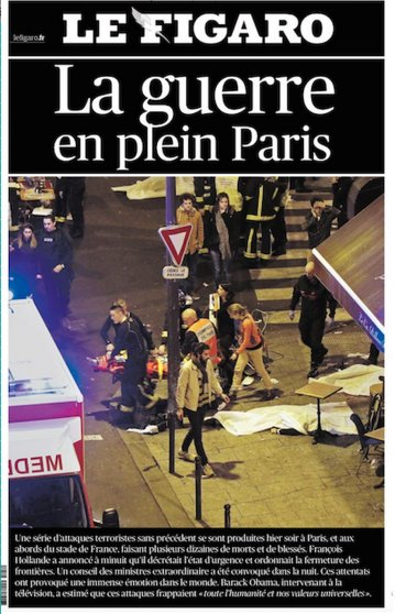 The front page of Le Figaro after the Paris attacks on Nov. 13, 2015