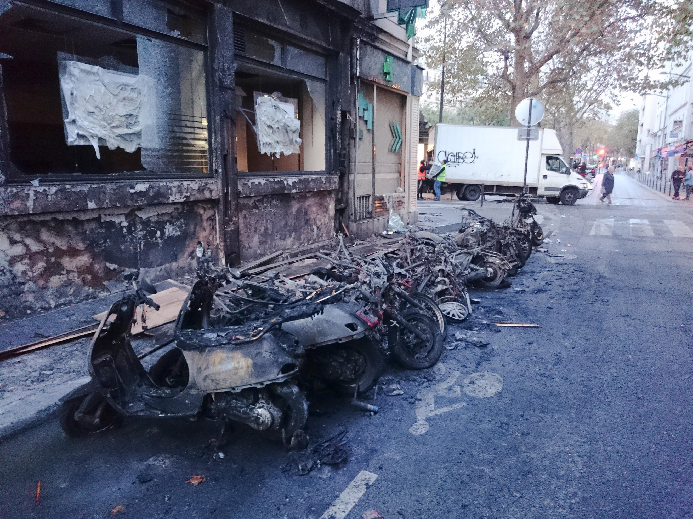 Burnt motorbikes and bicycles on the corner of Albert Thomas Lancry streets, in the 10th arrondissement of Paris, on Nov. 14, 2015, the morning after the attacks across the city.