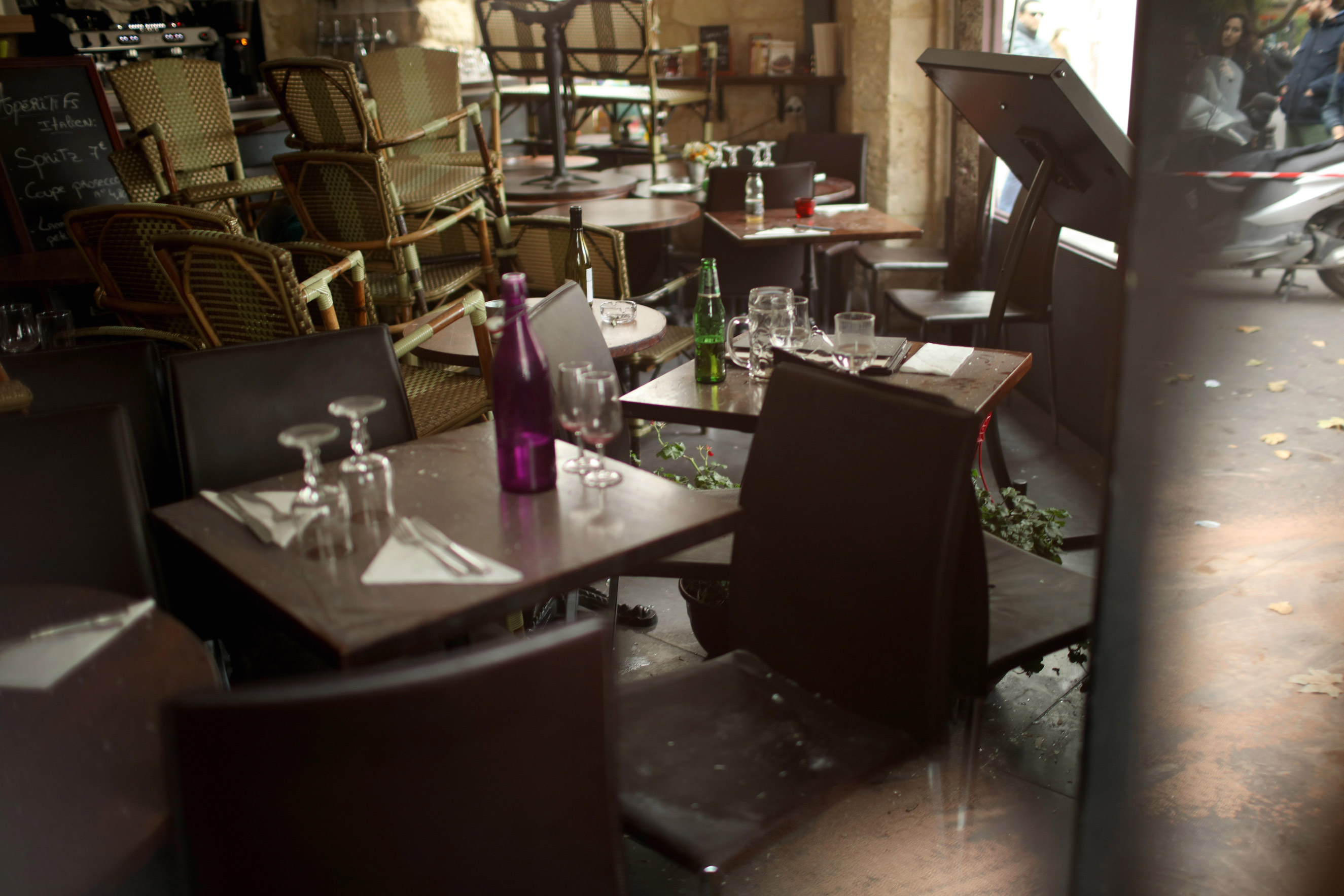 The interior of the Casa Nostra Cafe, the day after the attacks on the city, on Nov. 14, 2015 in Paris.