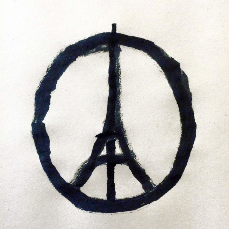 This image provided by the studio of artist Jean Jullien shows the  #PeaceForParis  logo.