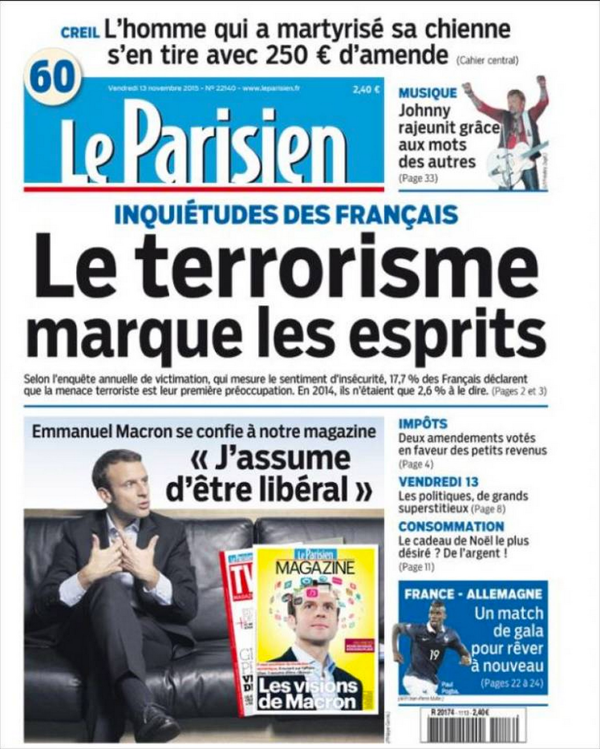 The Front page of French daily Le Parisien on Nov. 13, 2015