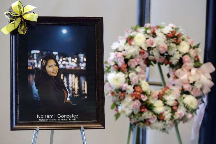 A picture of Nohemi Gonzalez, who was killed in the attacks on Paris, is displayed during a memorial service on Nov. 15, 2015 in Long Beach, Calif.