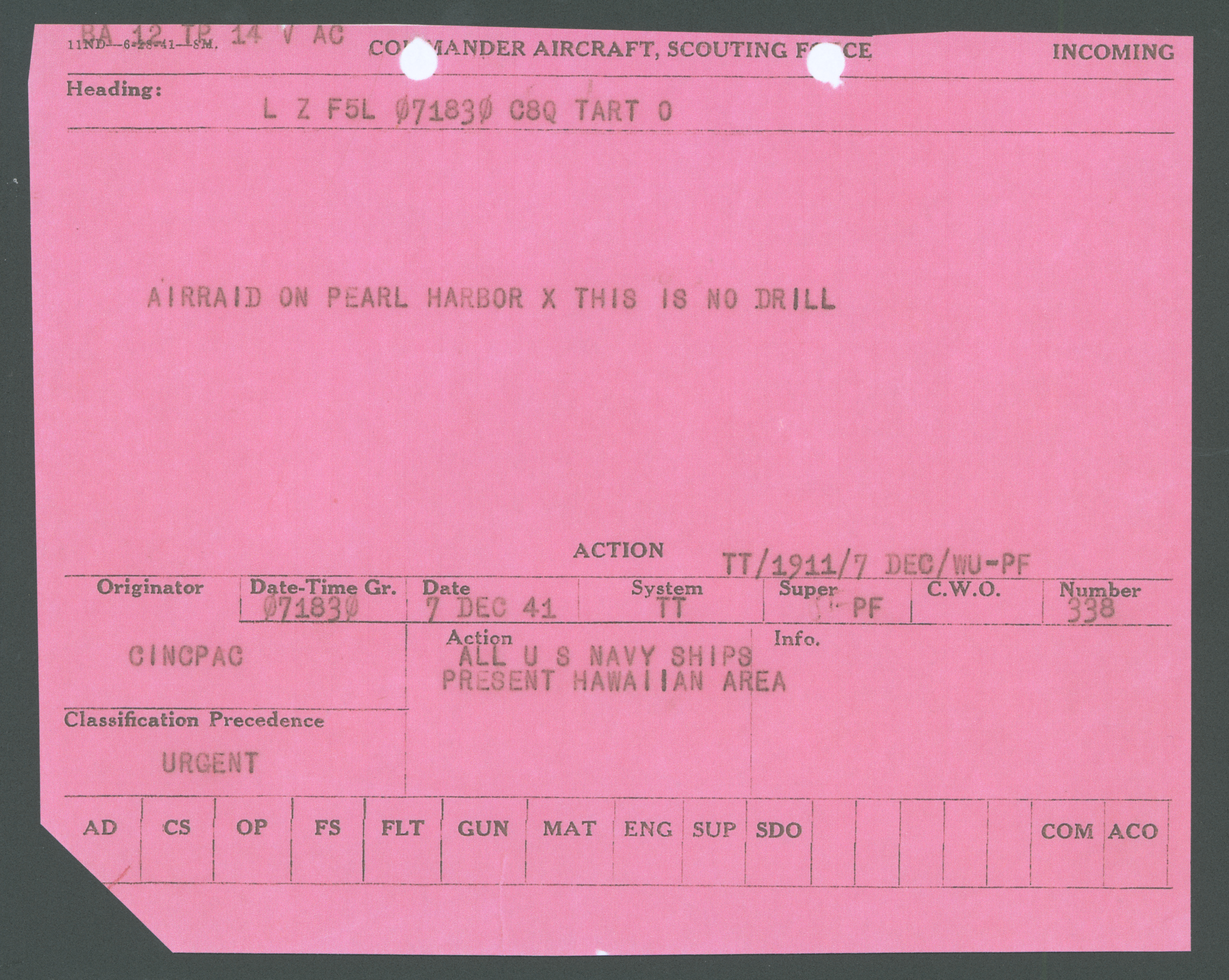 The telegram that first spread the news of Pearl Harbor, from Dec. 7, 1941