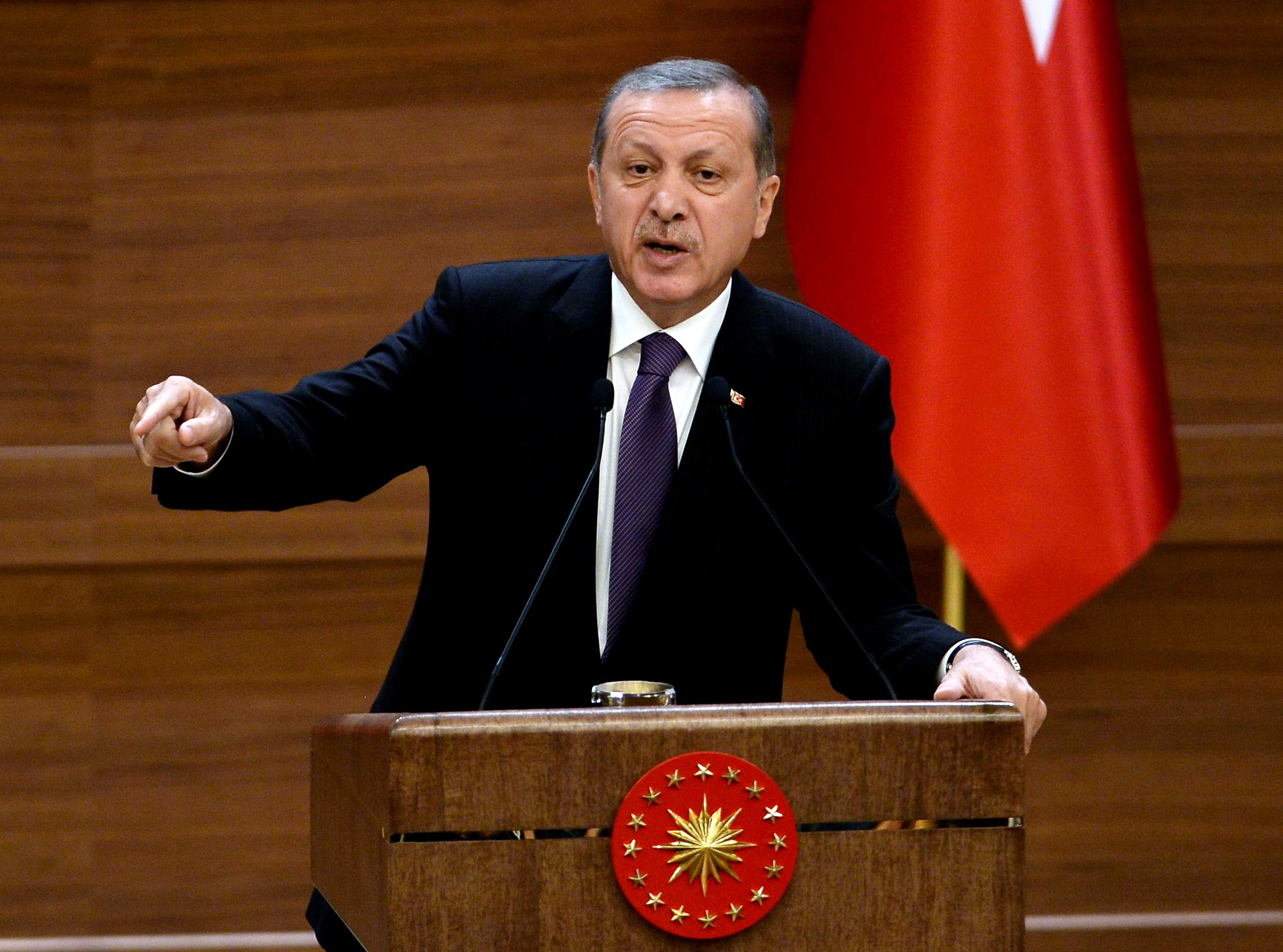 Turkish President Recep Tayyip Erdogan delivers a speech during the mukhtars meeting at the presidential palace in Ankara on Nov. 4, 2015.
