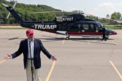 Republican presidential candidate Donald Trump speaks near his helicopter at the Iowa State Fair on Aug. 15, 2015, in Des Moines.
