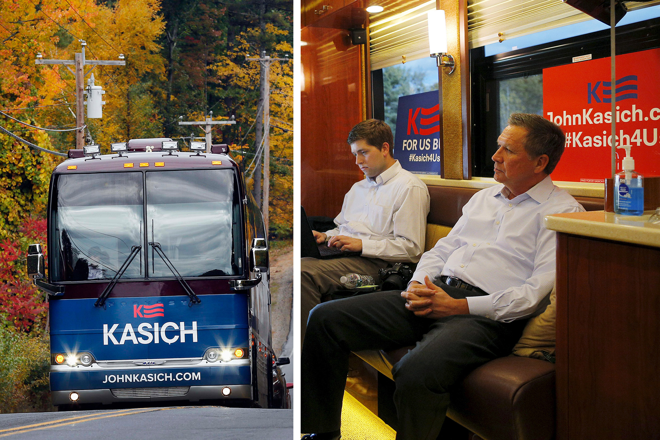 Republican presidential candidate John Kasich, at right, rides his campaign bus in Plymouth, New Hampshire on Oct. 14, 2015. At left, the exterior of Kasich's bus is seen on Oct. 13, 2015, in Bow, N.H.