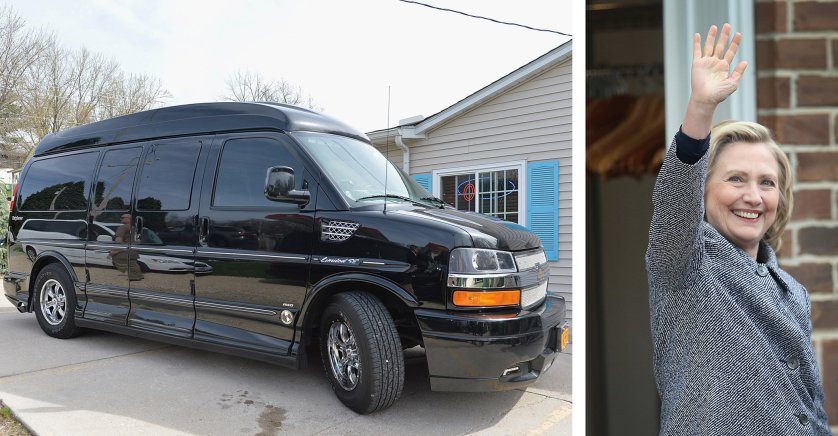 Democratic presidential candidate Hillary Clinton's van, at left, is parked during a campaign visit on April 14, 2015 in Le Claire, Iowa. Clinton, at right, waves after an even on May 18, 2015 in Mason City, Iowa.