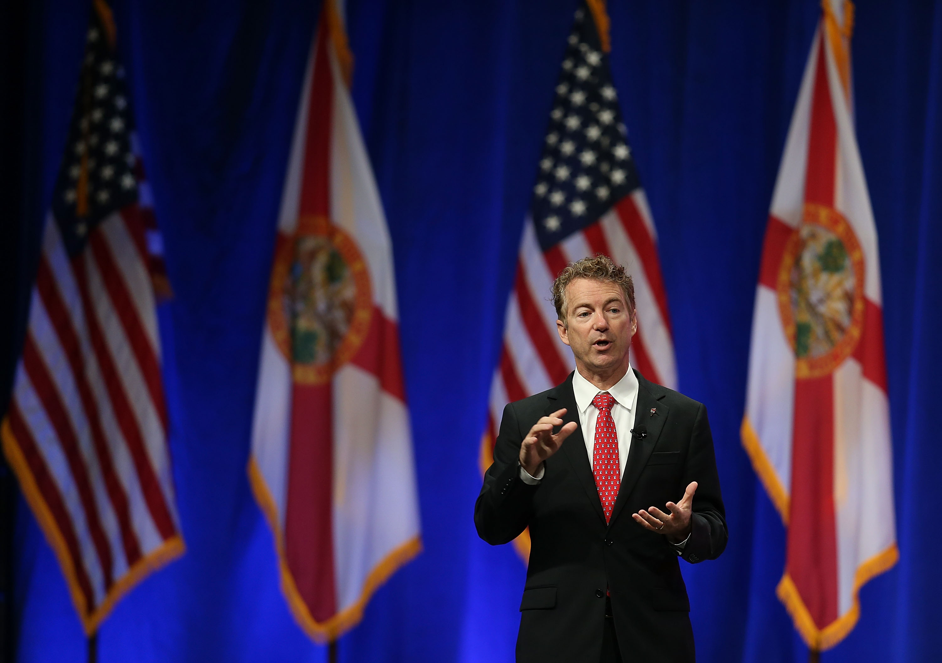 Republican presidential candidate Sen. Rand Paul (R-KY)  speaks during the Sunshine Summit conference being held at the Rosen Shingle Creek in Orlando, Florida, on Nov. 14, 2015.