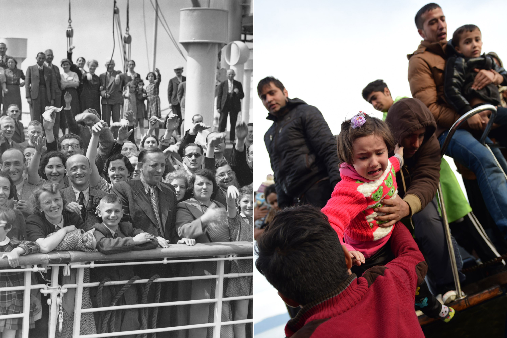 From left: Some of the 700 Jewish refugees aboard the Hamburg-America liner St. Louis on arrival at Antwerp, Belgium on June 17, 1939. A child is lifted off, as migrants and refugees disembark on the Greek island of Lesbos on Nov. 16, 2015.
