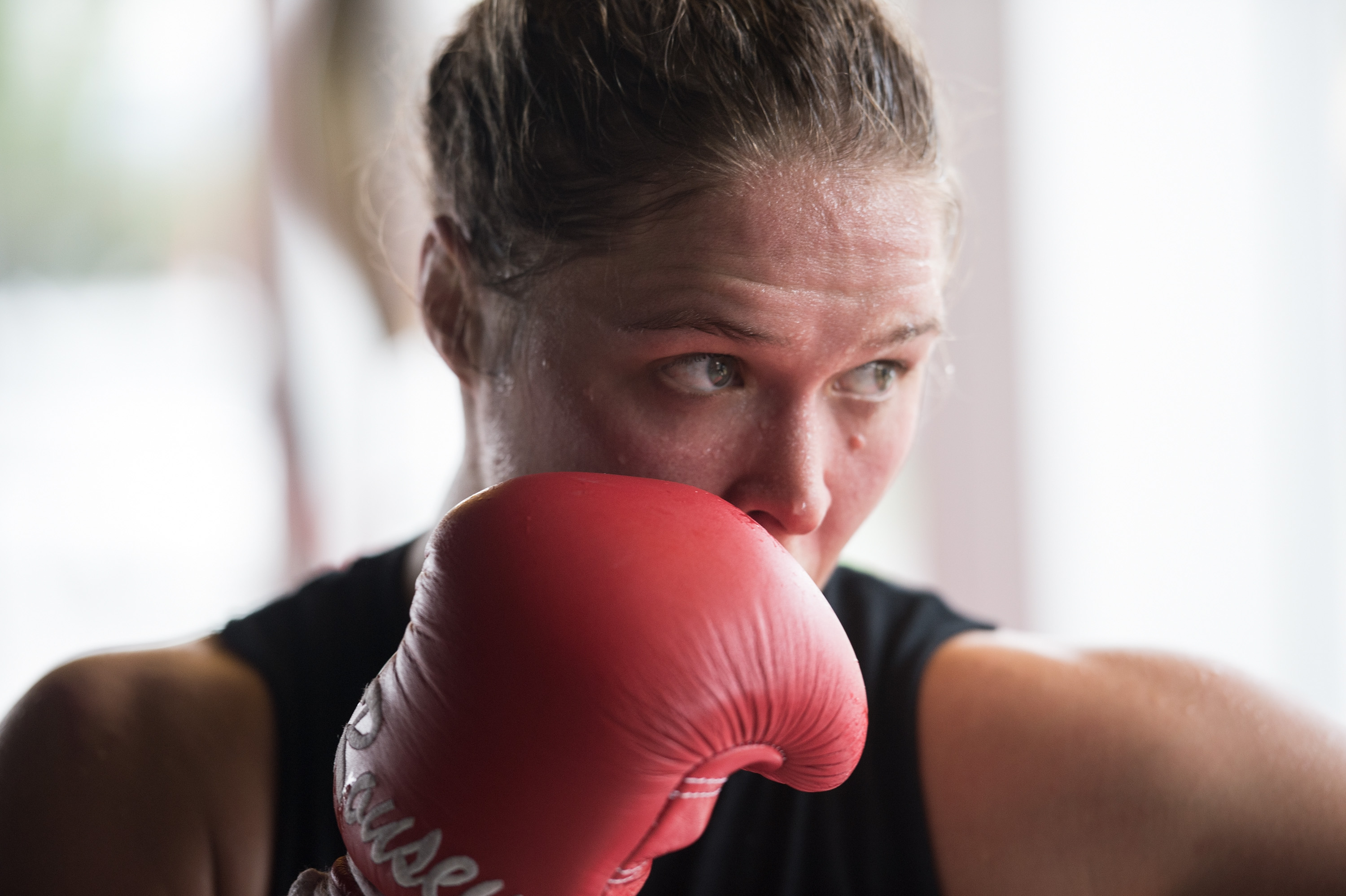 Ronda Rousey cools down after a workout during a media training session at the Glendale Fight Club in Glendale, CA on Oct. 27, 2015.