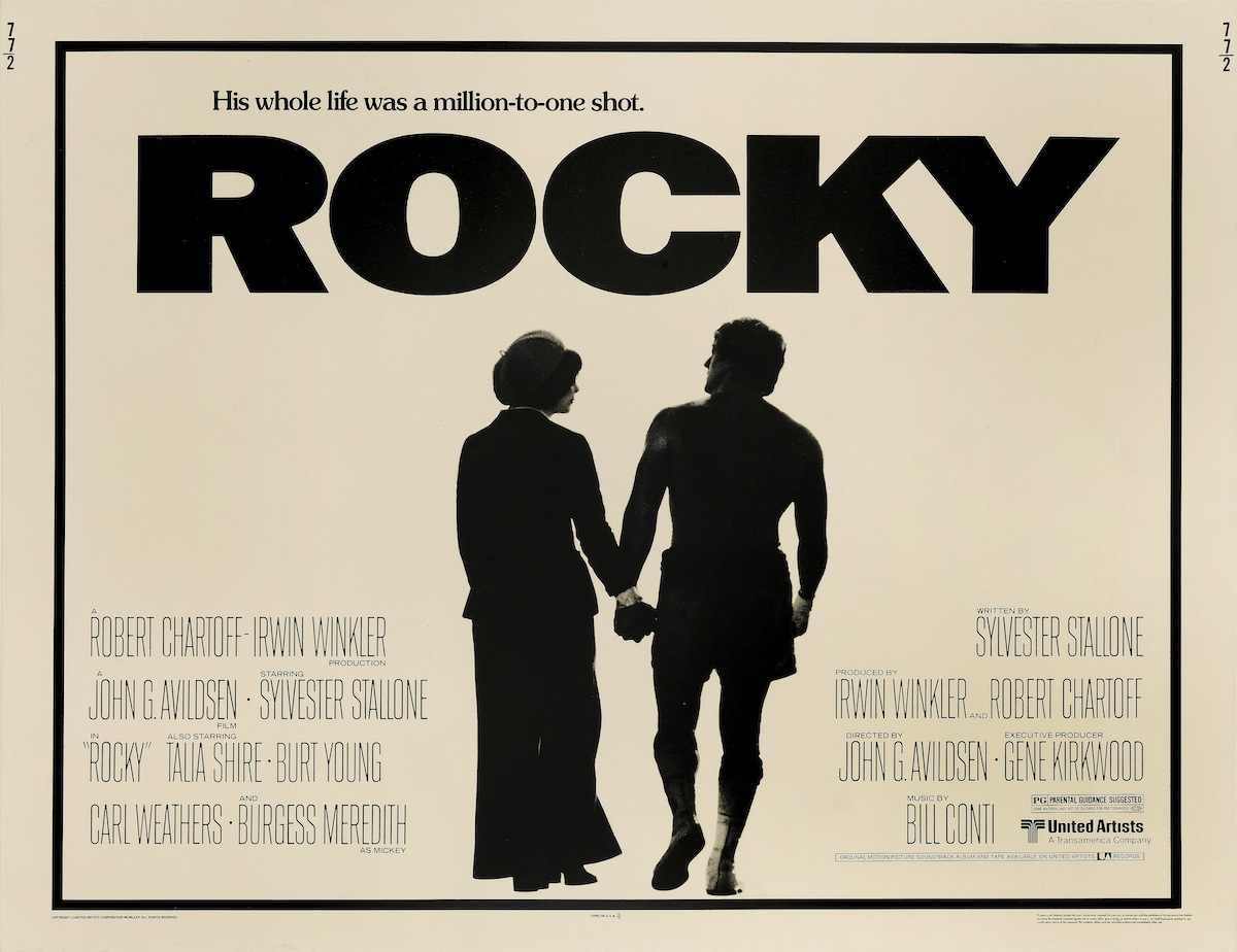 Actors Talia Shire and Sylvester Stallone feature on a poster for the United Artists boxing movie 'Rocky', 1976.