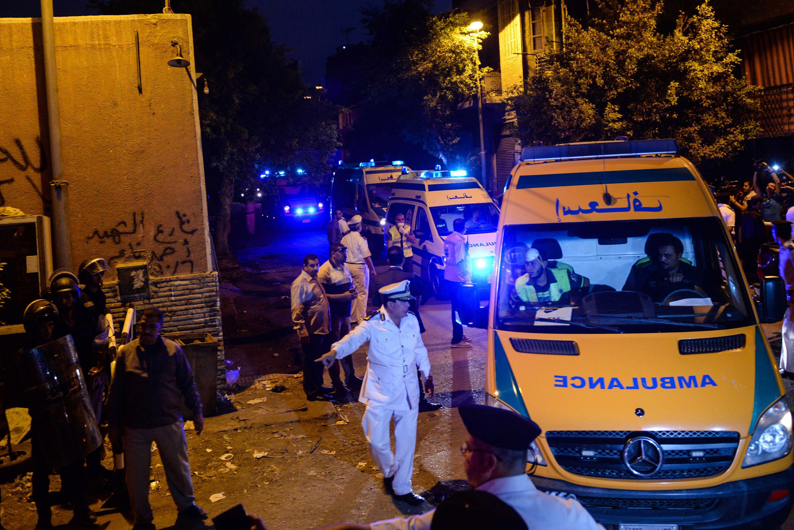 Ambulances transporting the bodies of the victims of the Russian passenger flight crash arrive at the Zeinhom morgue in Cairo on Oct. 31, 2015.