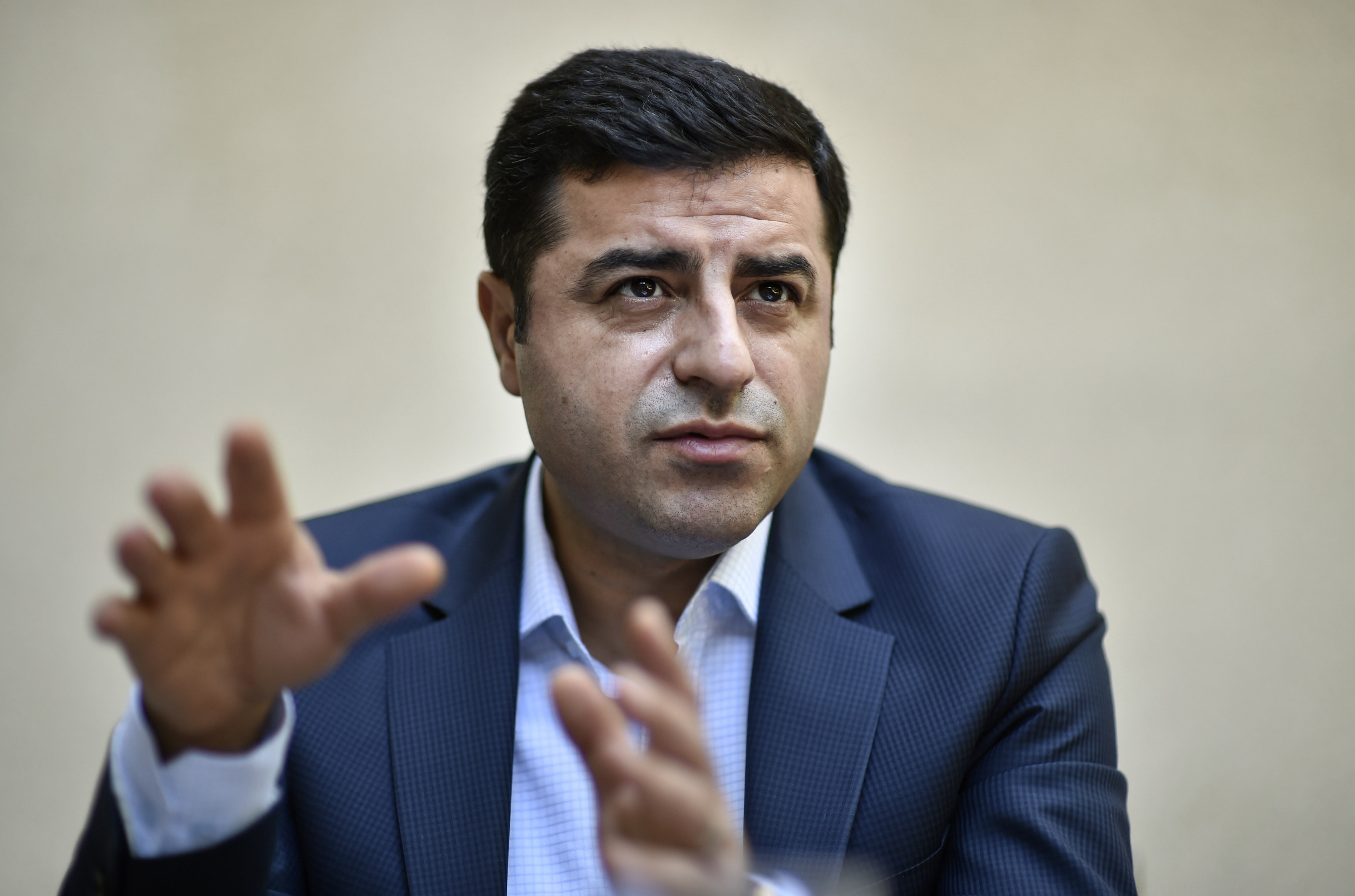 Selahattin Demirtas, co-leader of Turkey's pro-Kurdish People's Democratic Party (HDP), speaks during an interview with AFP in Brussels on Aug. 6, 2015.
