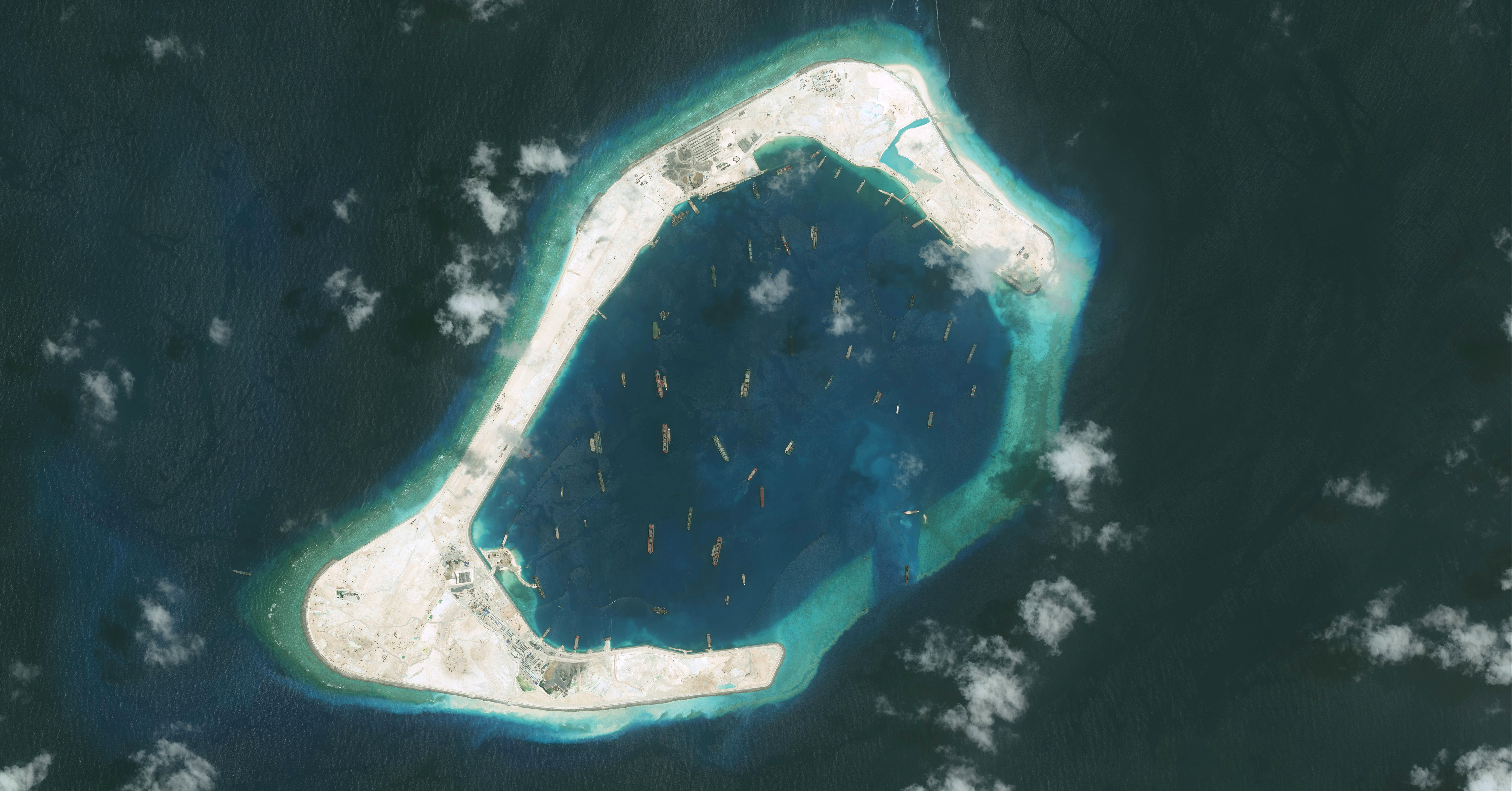 DigitalGlobe imagery shows the Subi Reef in the South China Sea, a part of the Spratly Islands group, on Sept. 1, 2015