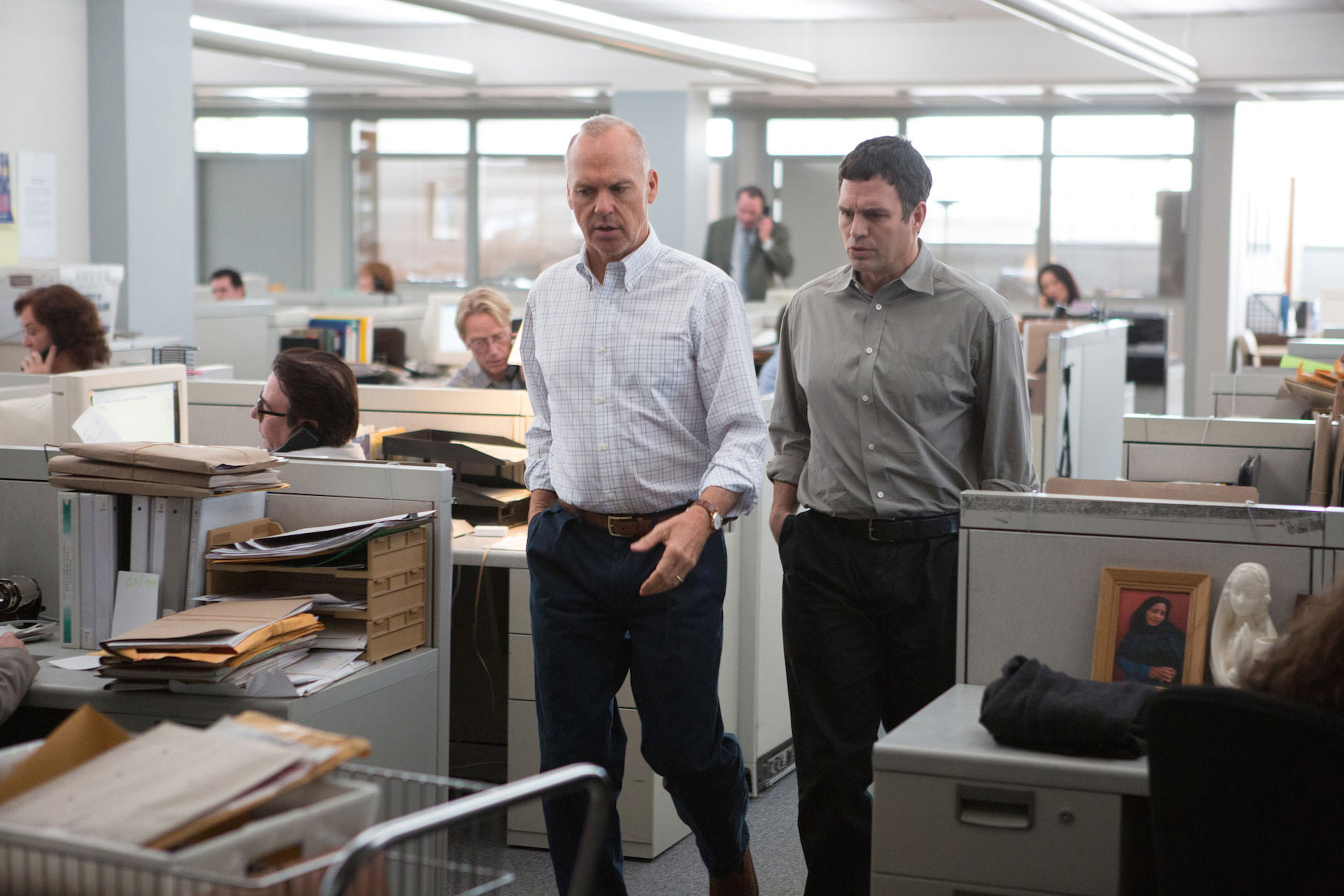 Michael Keaton and Mark Ruffalo in Spotlight.