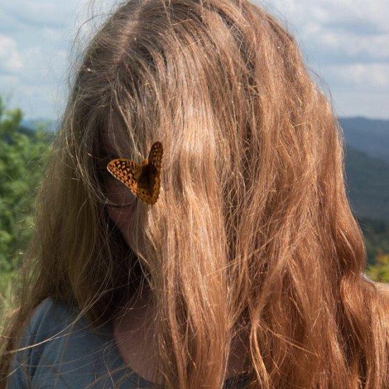 Butterfly in Dani's hair, Whitesville, WV