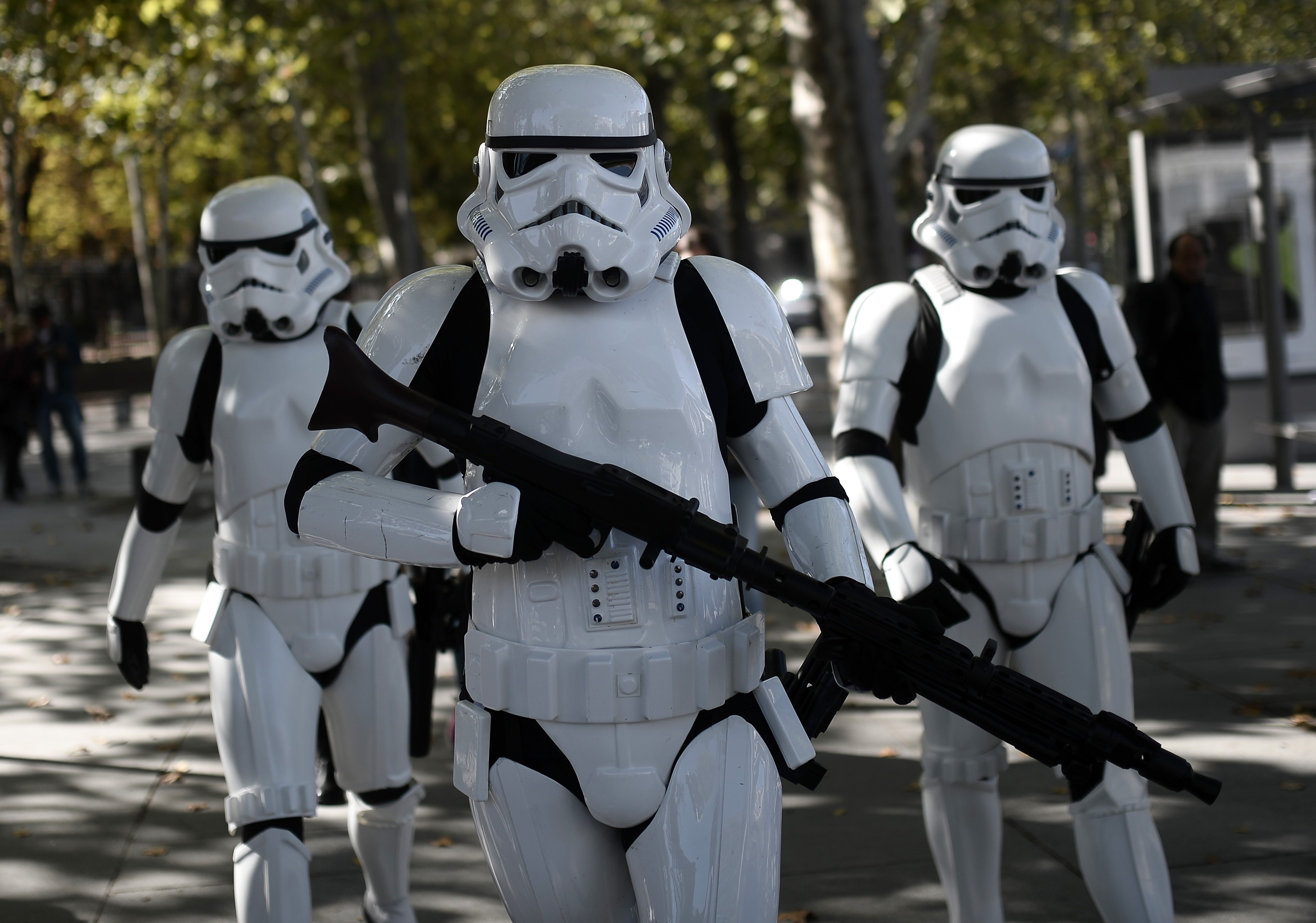 Star Wars' stormtrooper characters walk on Oct. 30 in Madrid.