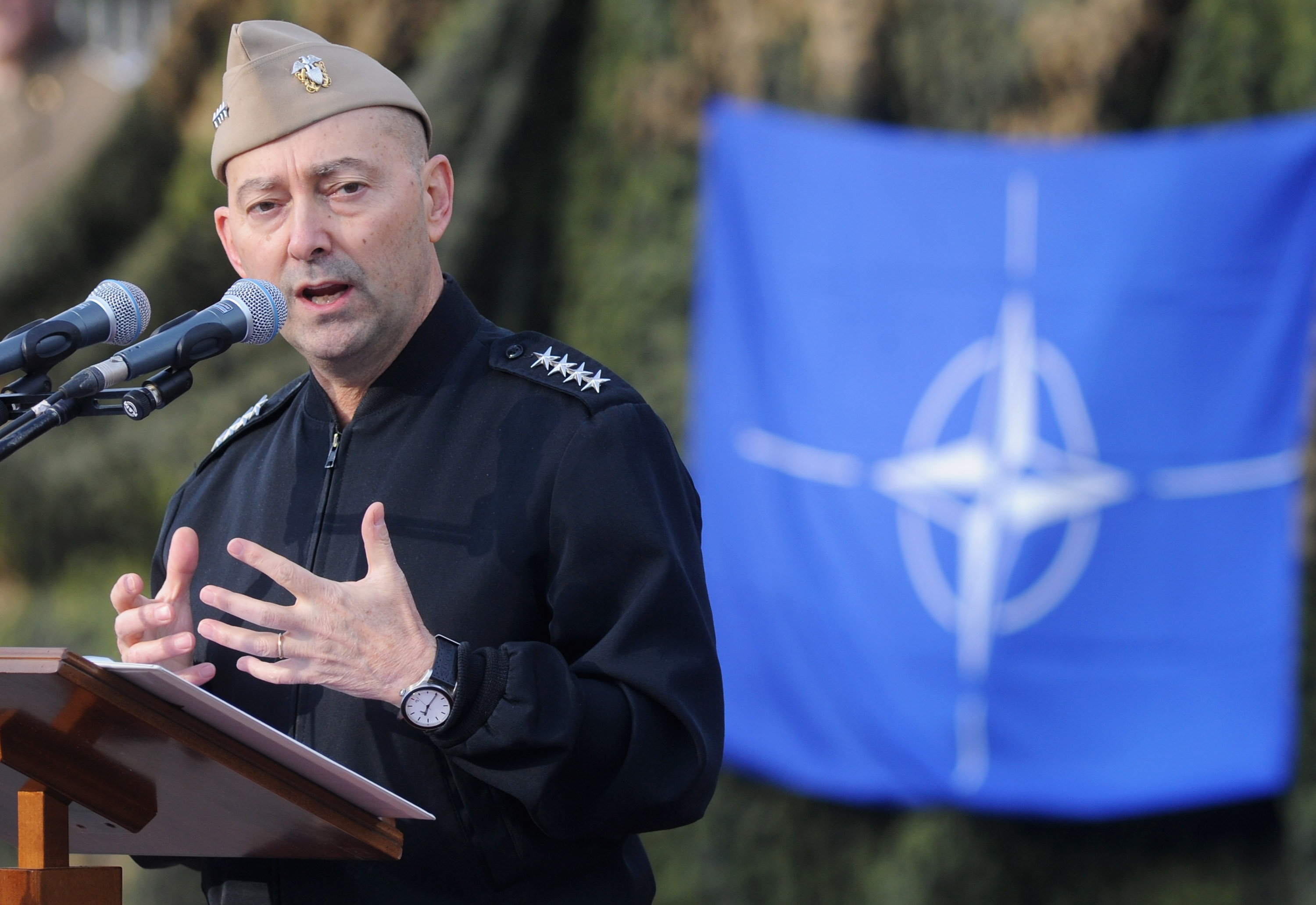 Supreme Allied Commander Europe (SACEUR) Admiral James Stavridis makes a speech at the departure ceremony for OTAN Rapid Deployable Corps - Italy bound for Afghanistan at Ugo Mara Barracks in Solbiate Olona, Italy, on Jan. 10, 2013.