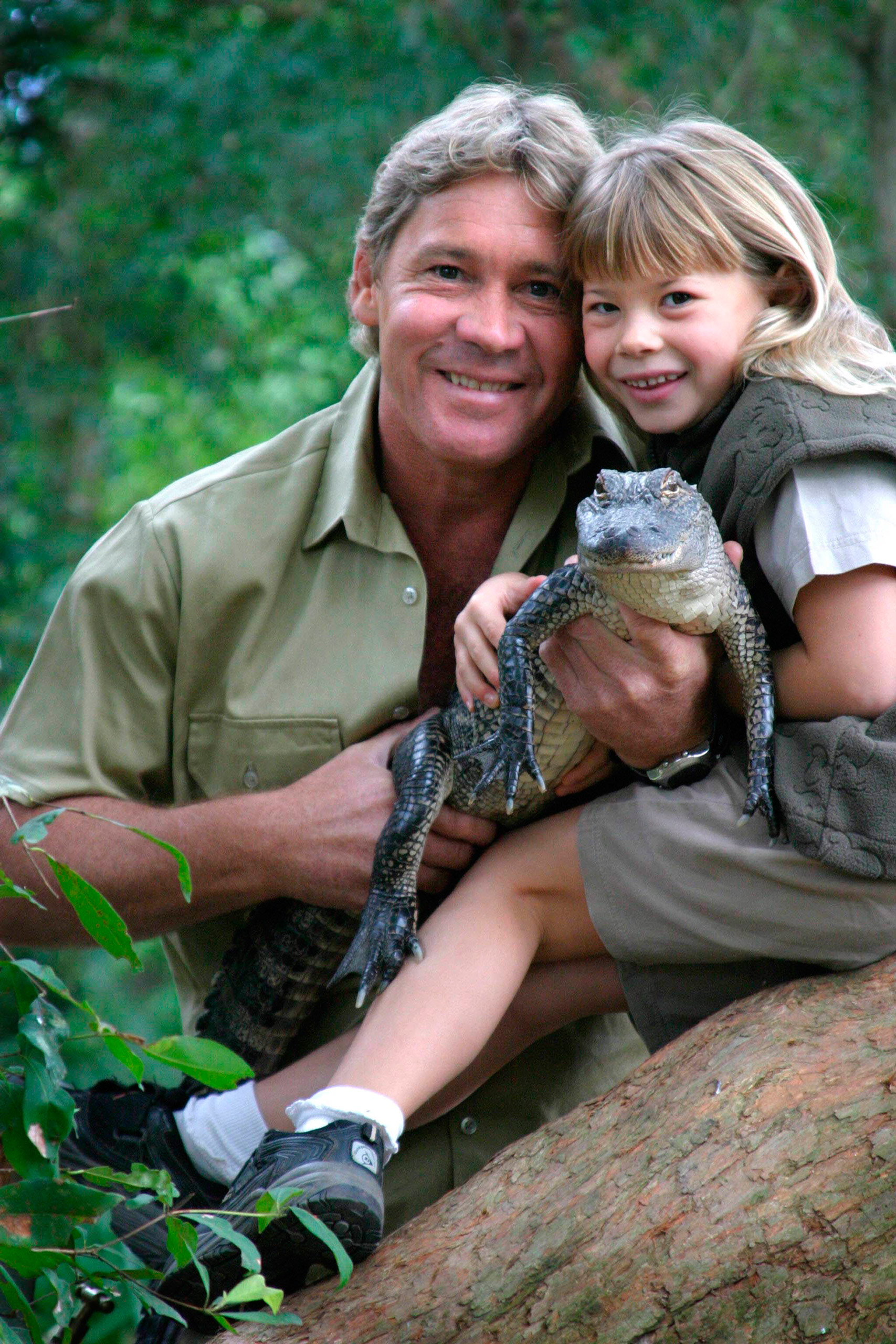 Steve Irwin with his daughter, Bindi Irwin, and a 3-year-old alligator called 'Russ' at Australia Zoo on Queensland's Sunshine Coast, Australia, on June 25, 2006.