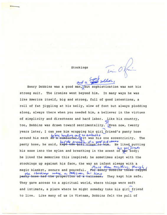 Manuscript page from  Stockings  chapter of The Things They Carried, hand-corrected by Tim O'Brien