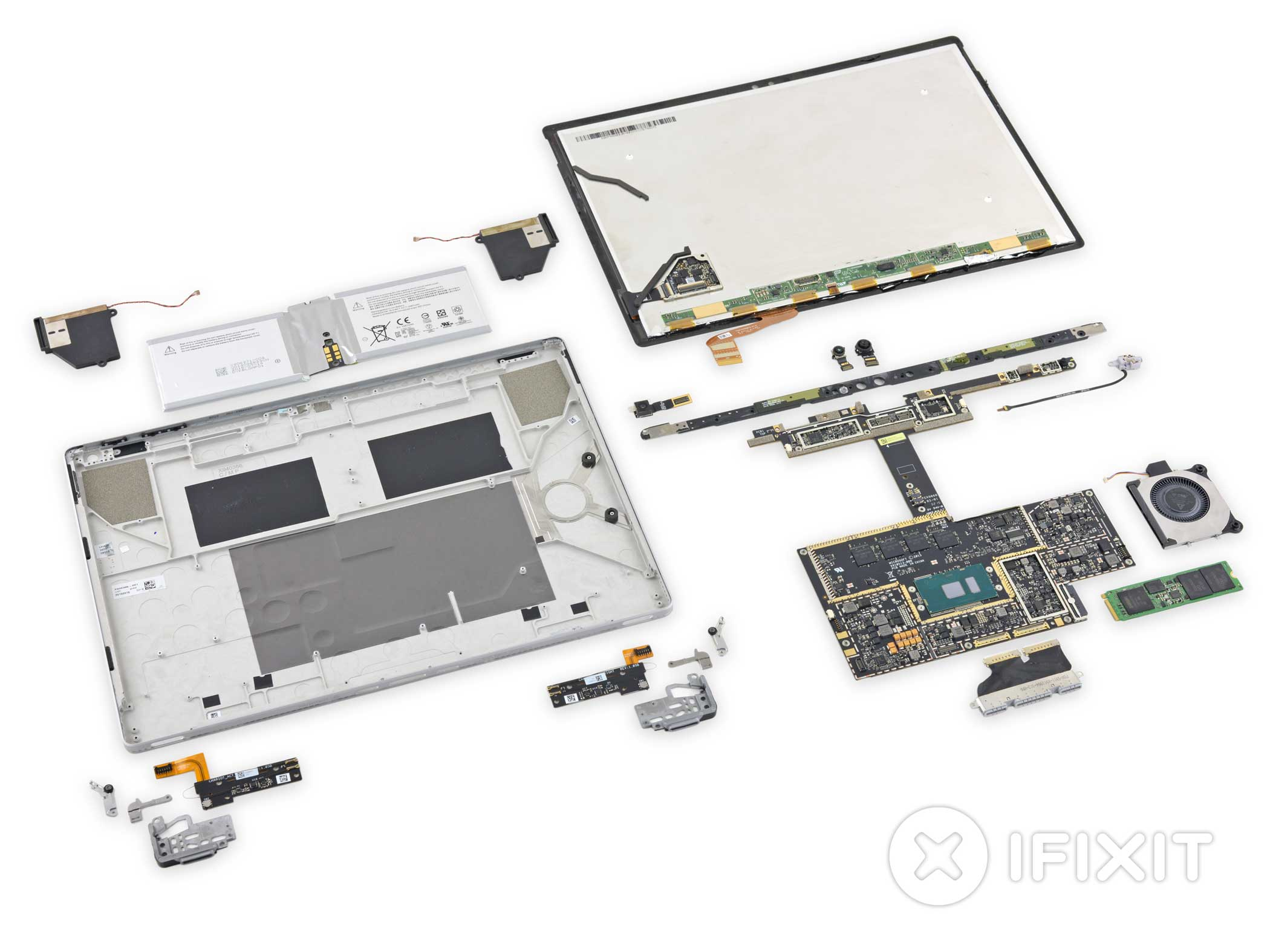 The disassembled Surface Book. iFixIt gave the device a 1 out of 10 on its self-repairability scale.