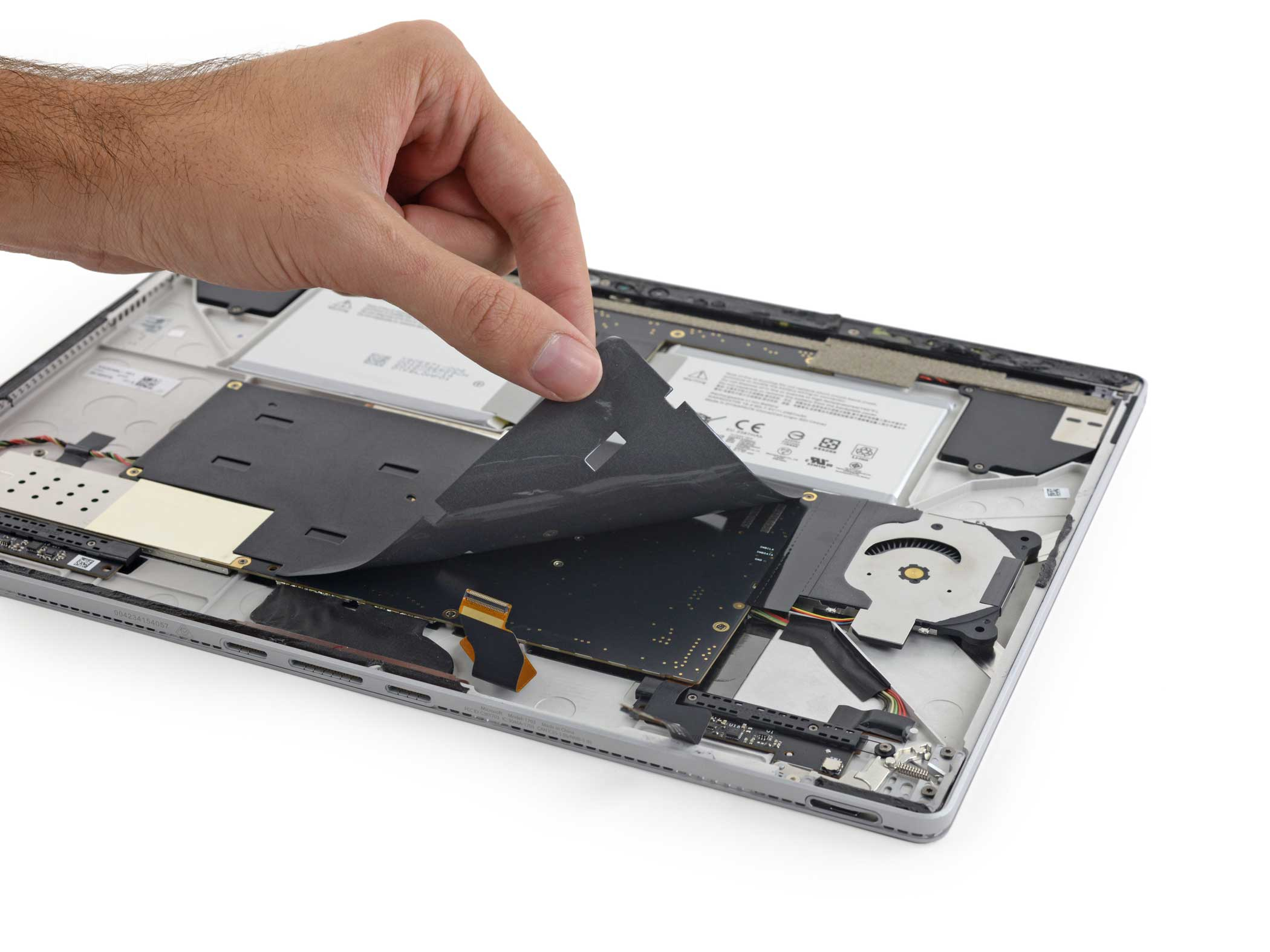 The Surface Book's motherboard is actually affixed upside-down.