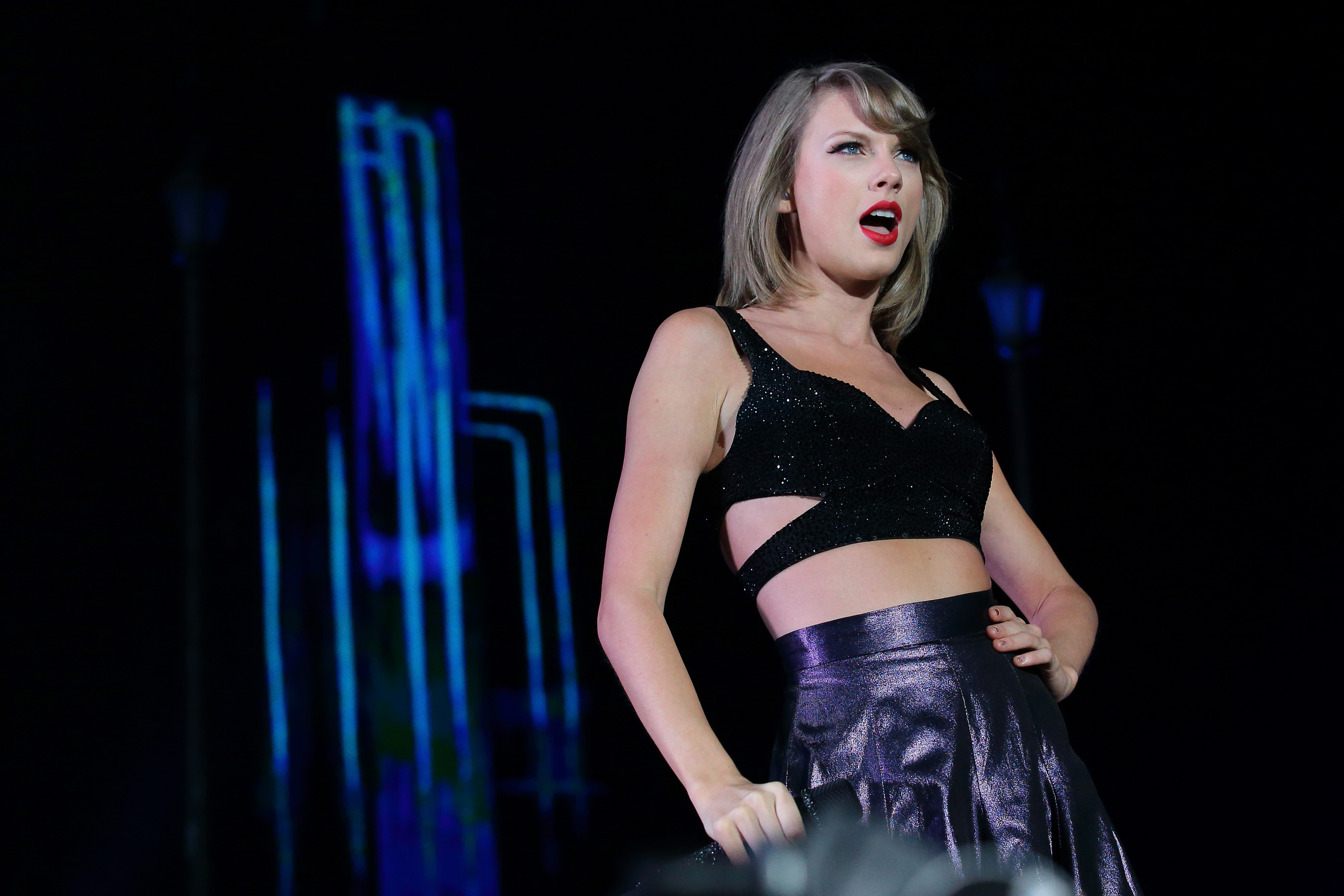 Taylor Swift performs live during the 1989 World Tour Live in Singapore on Nov. 7, 2015.