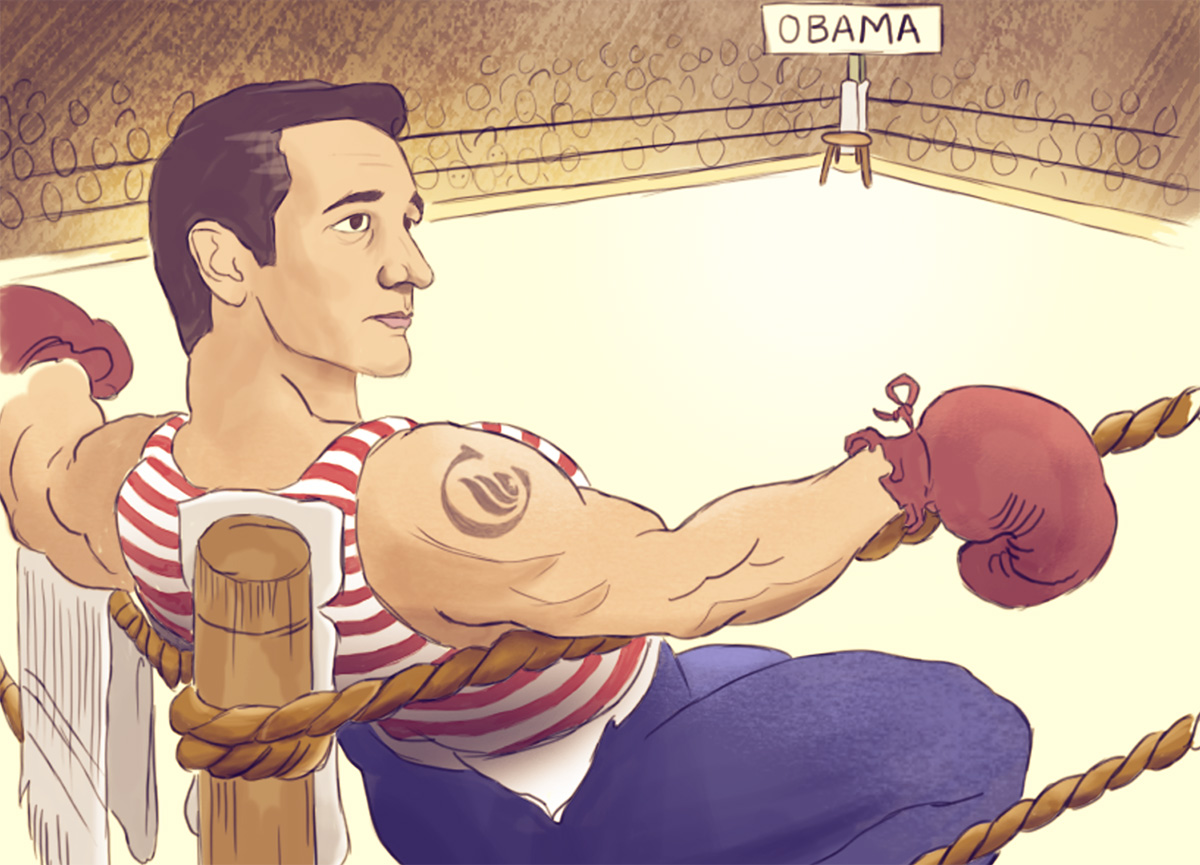 An online ad shows Texas Sen. Ted Cruz in an empty boxing ring waiting to face President Obama.