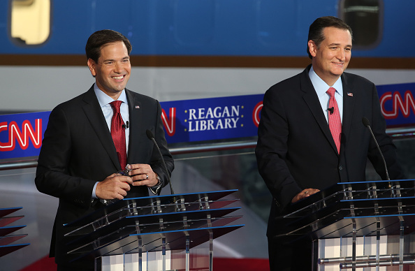 Republican presidential candidate Marco Rubio and Ted Cruz take part in the presidential debates at the Reagan Library on September 16, 2015 in Simi Valley, California.