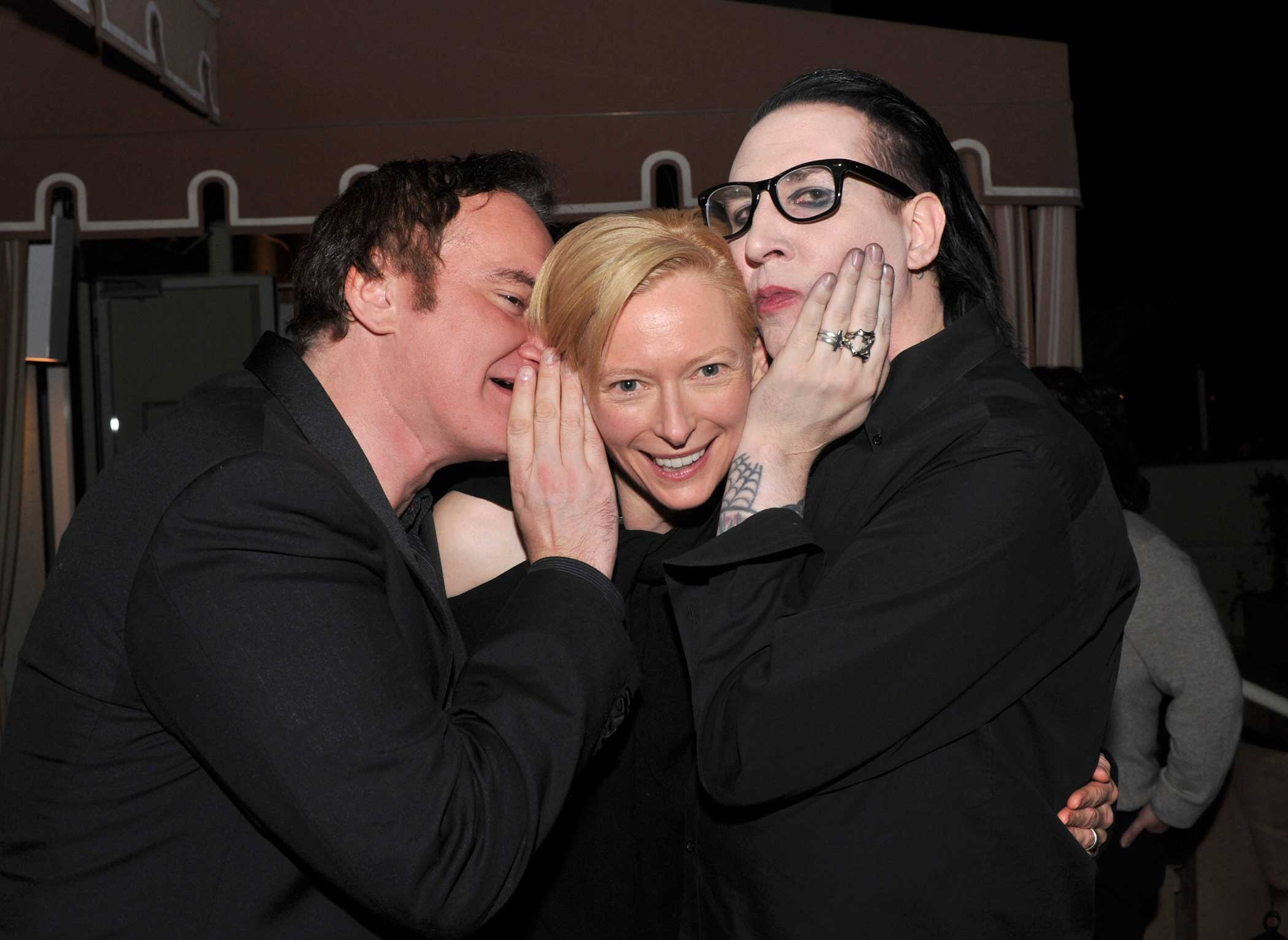 From left: Quentin Tarantino, Tilda Swinton and Marilyn Manson attend the I Am Love reception on Jan. 13, 2011 in West Hollywood, Calif.